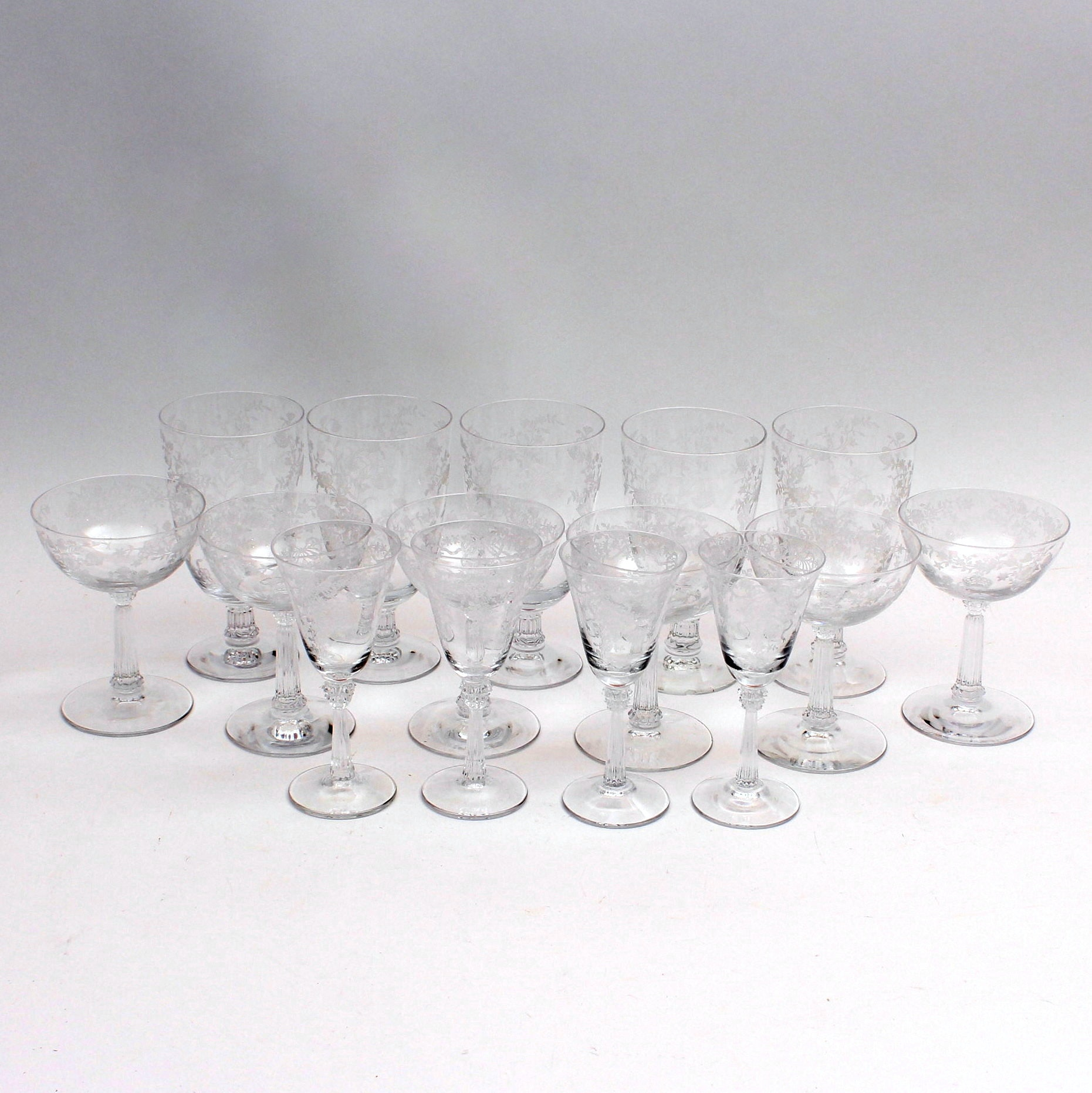 Vintage Hand-Etched Glassware