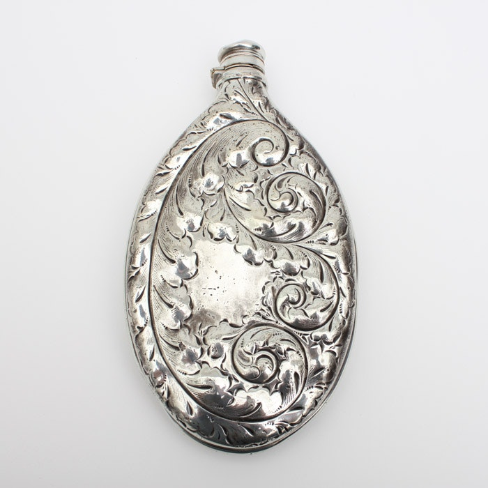 Monogrammed Plated Silver Flask with Foliate Design
