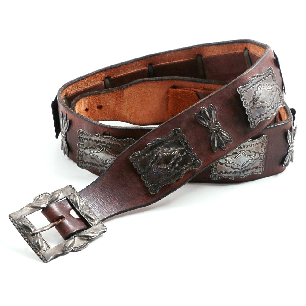 Vintage Leather and Sterling Silver Concho Belt