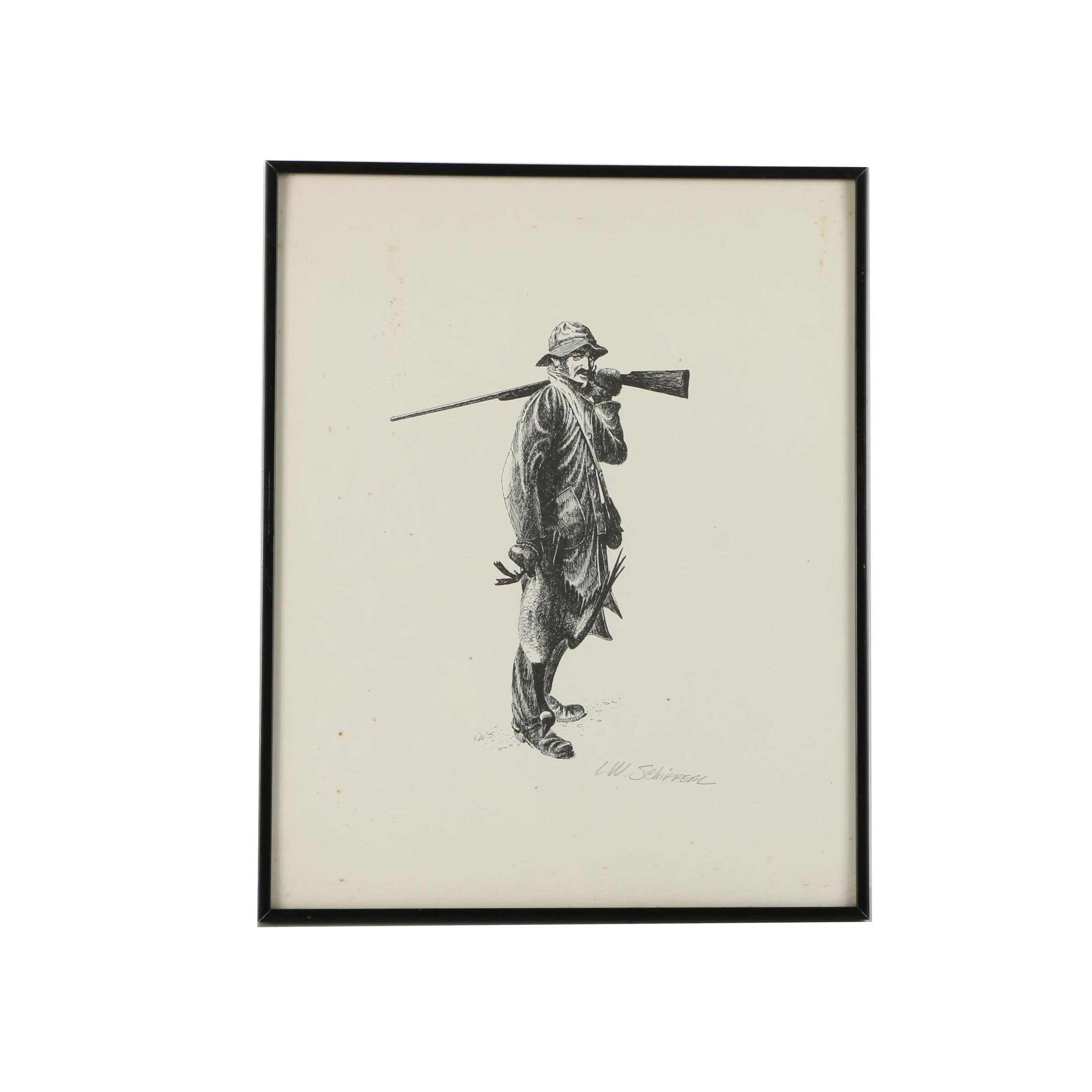 L. W. Schirrem Ink Drawing on Paper of a Hunter with His Rifle and Game