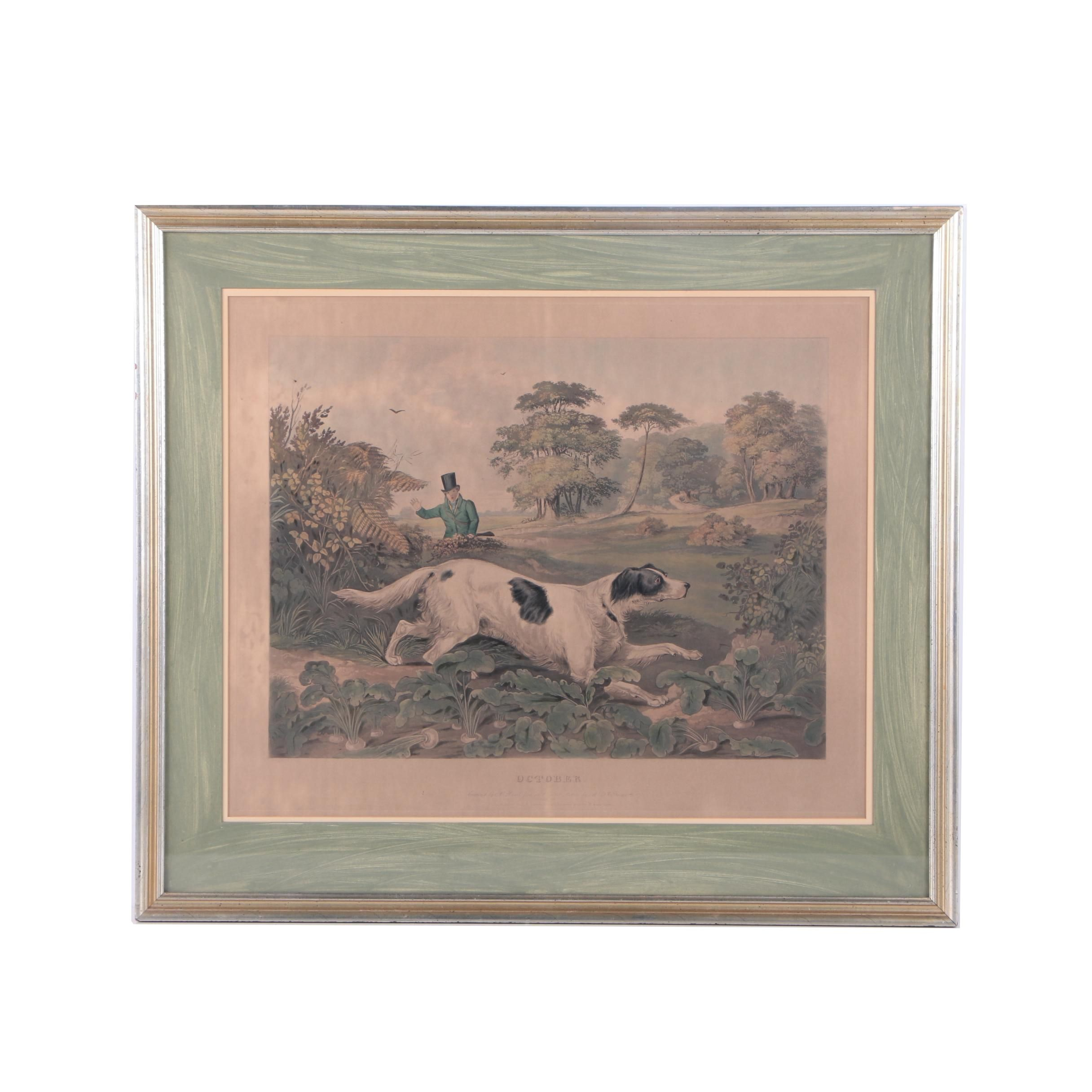 """Henry Pyall Hand Colored Engraving on Paper """"October"""""""
