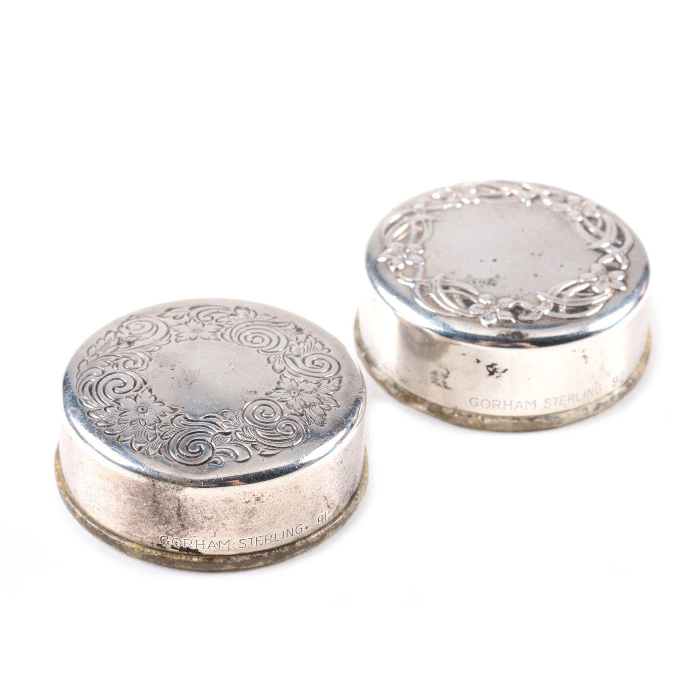 Pair of Gorham Sterling Silver Pill Boxes