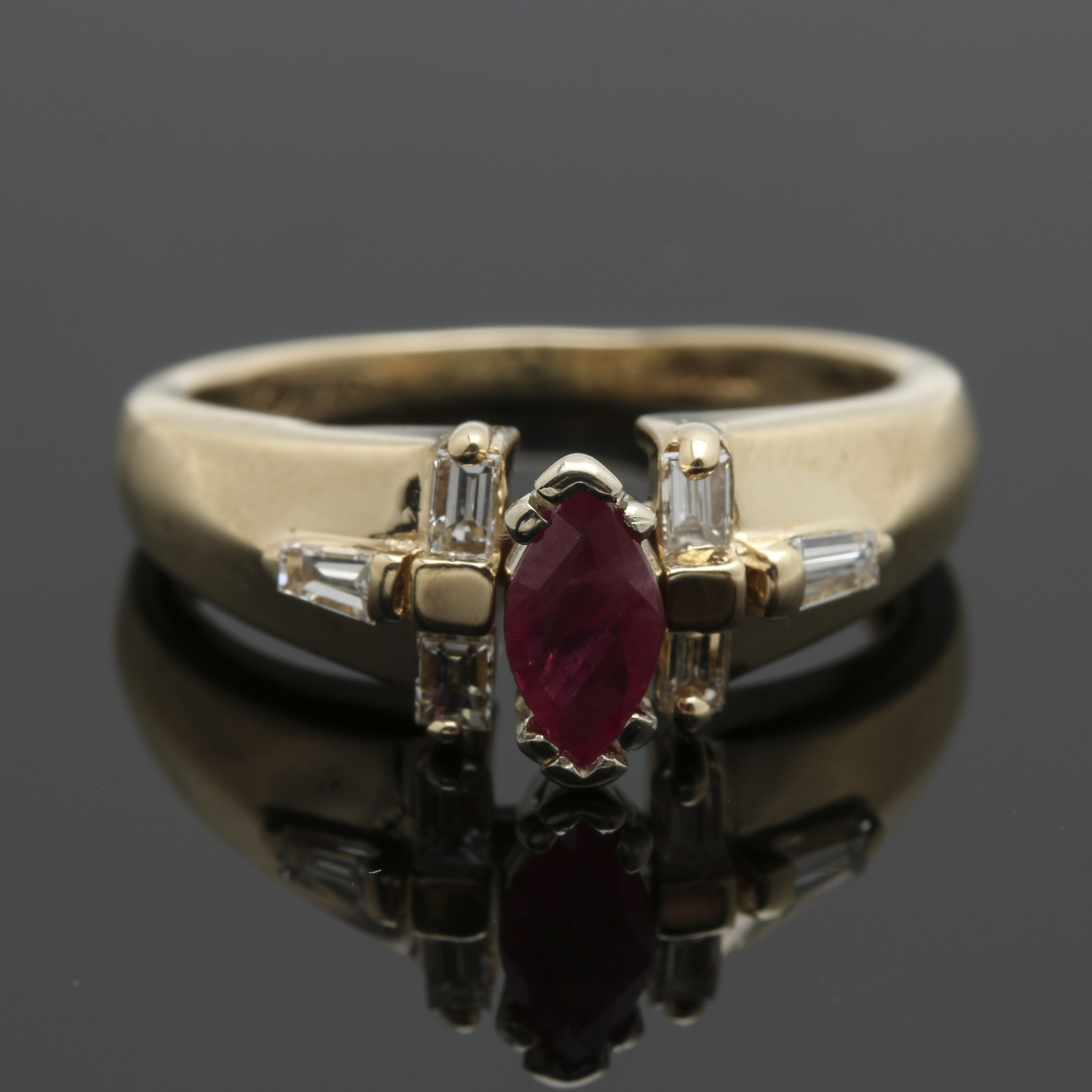 14K Yellow Gold Marquise Ruby and  0.24 CTW Diamonds Ring