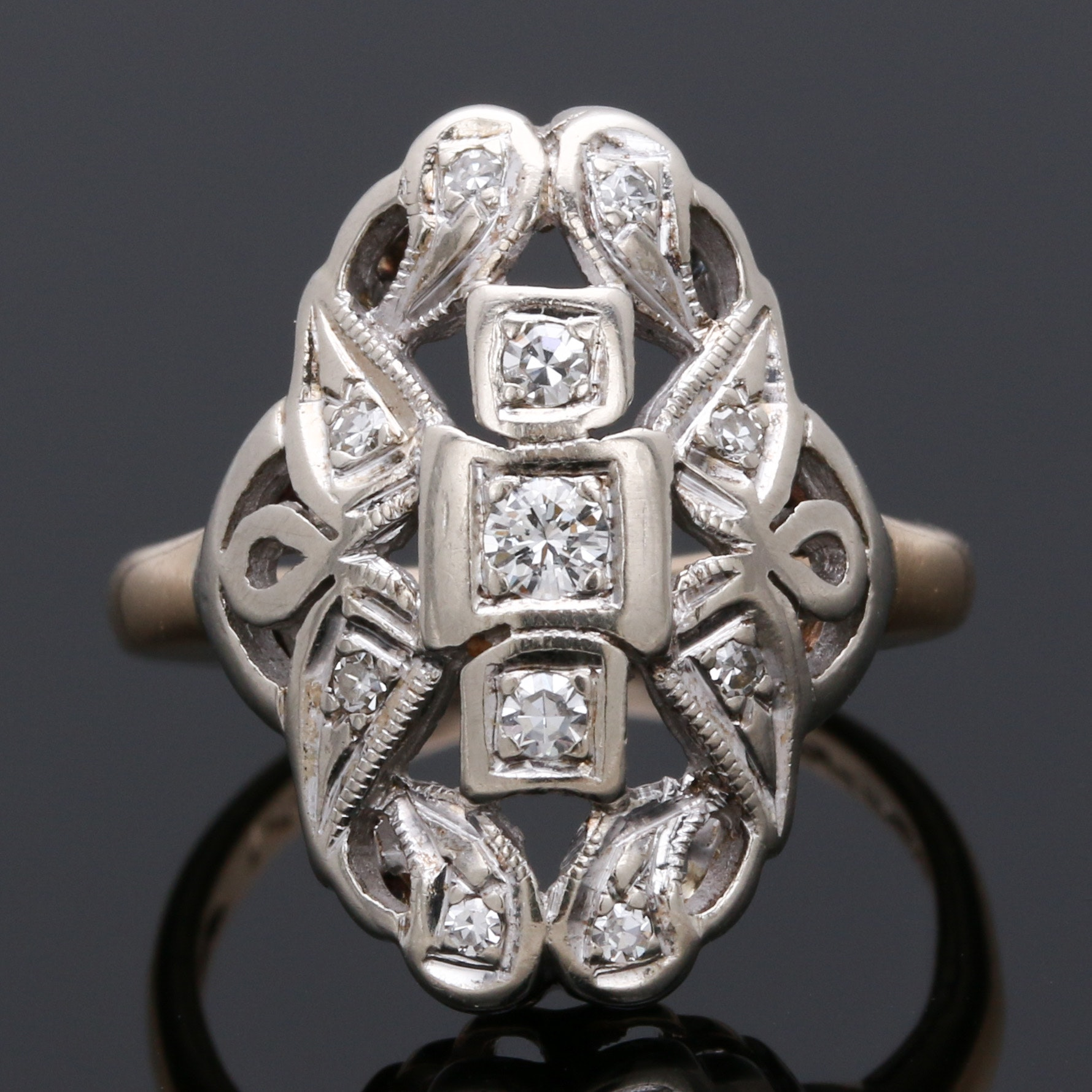 Mid-Late Edwardian 14K White and Yellow Gold Diamond Dinner Ring