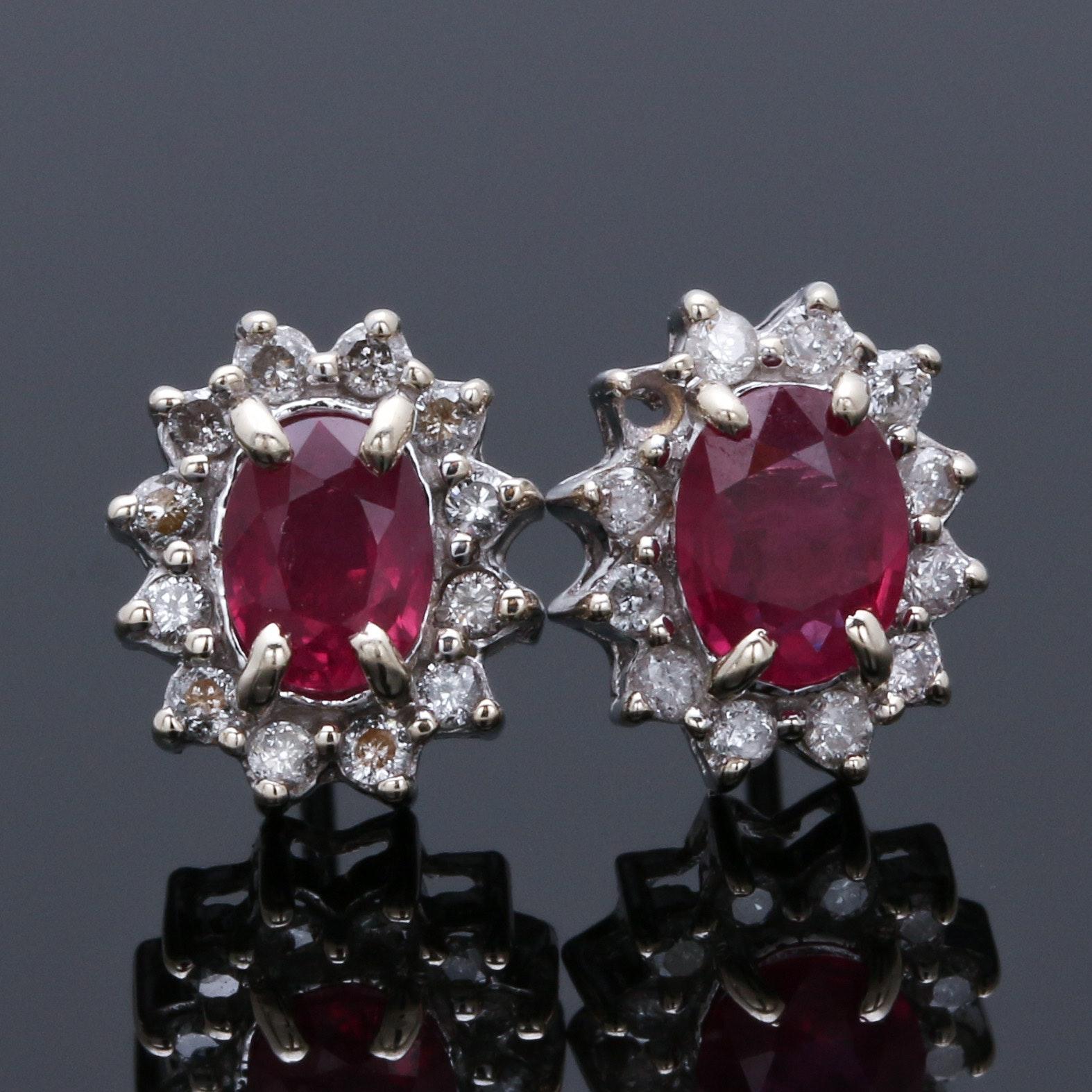14K White Gold Ruby and Diamond Stud Earrings