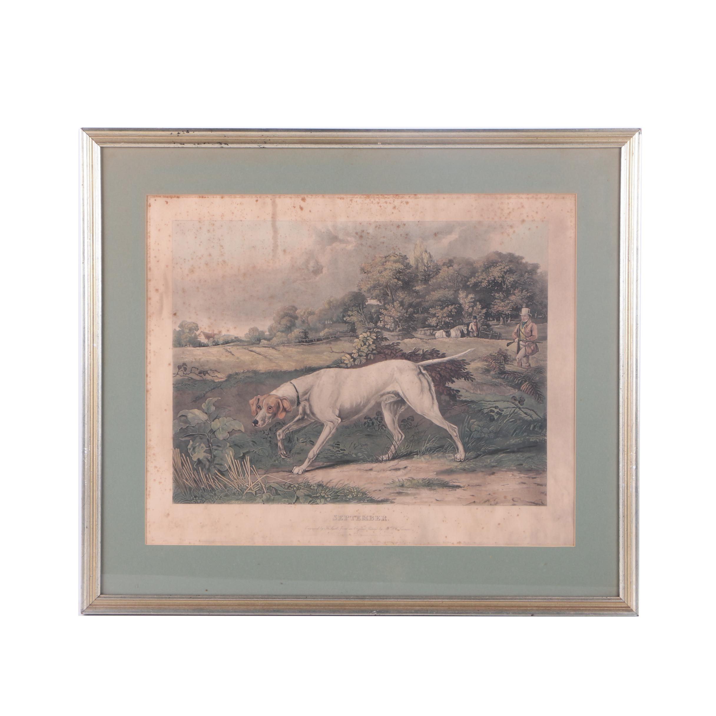 """Henry Pyall Engraving on Paper """"September"""""""