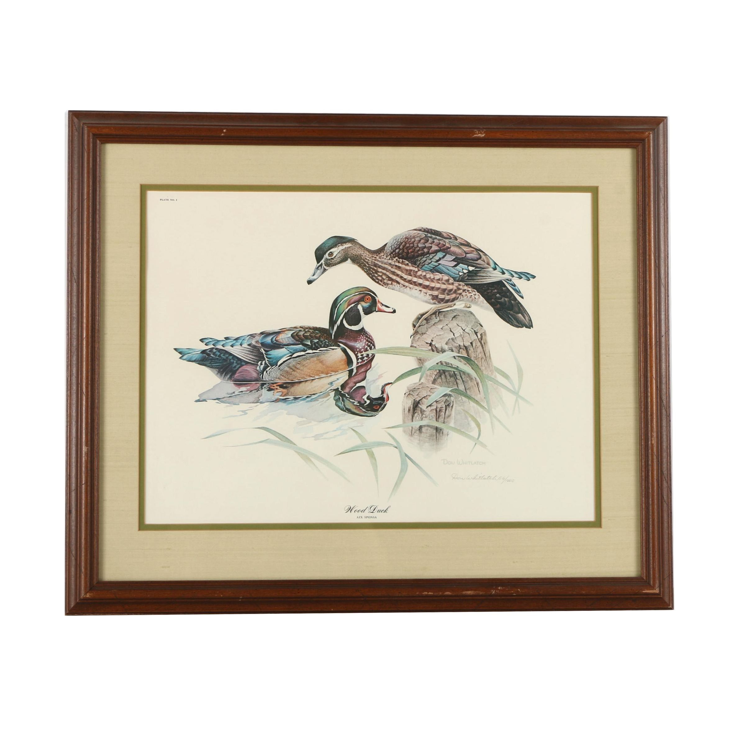 "Don Whitlatch Limited Edition Offset Lithograph ""Wood Duck"""