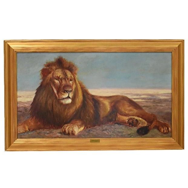 "Thomas Corwin Lindsay Oil Painting on Canvas ""Brutus"""