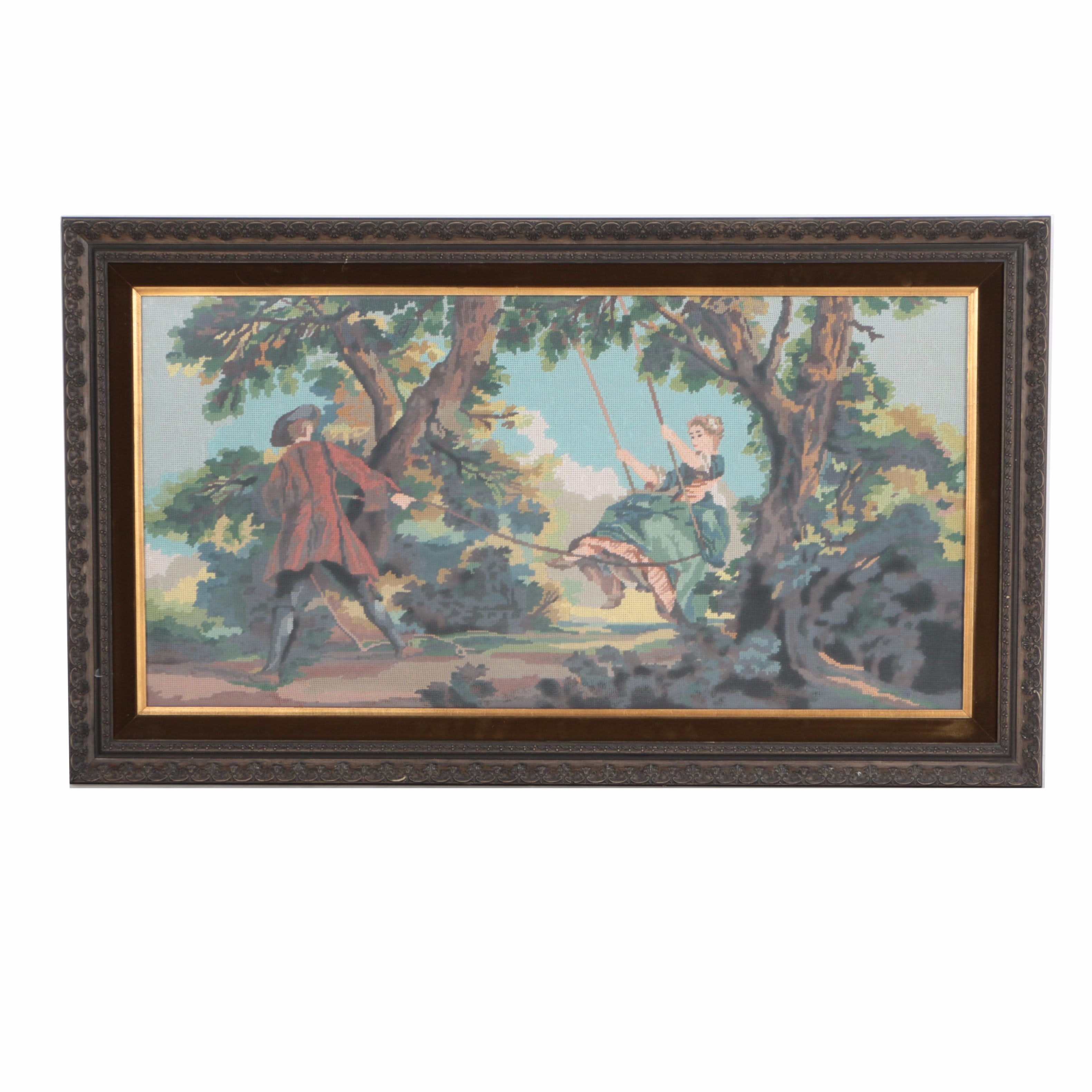 Framed Embroidery depicting a Victorian Couple