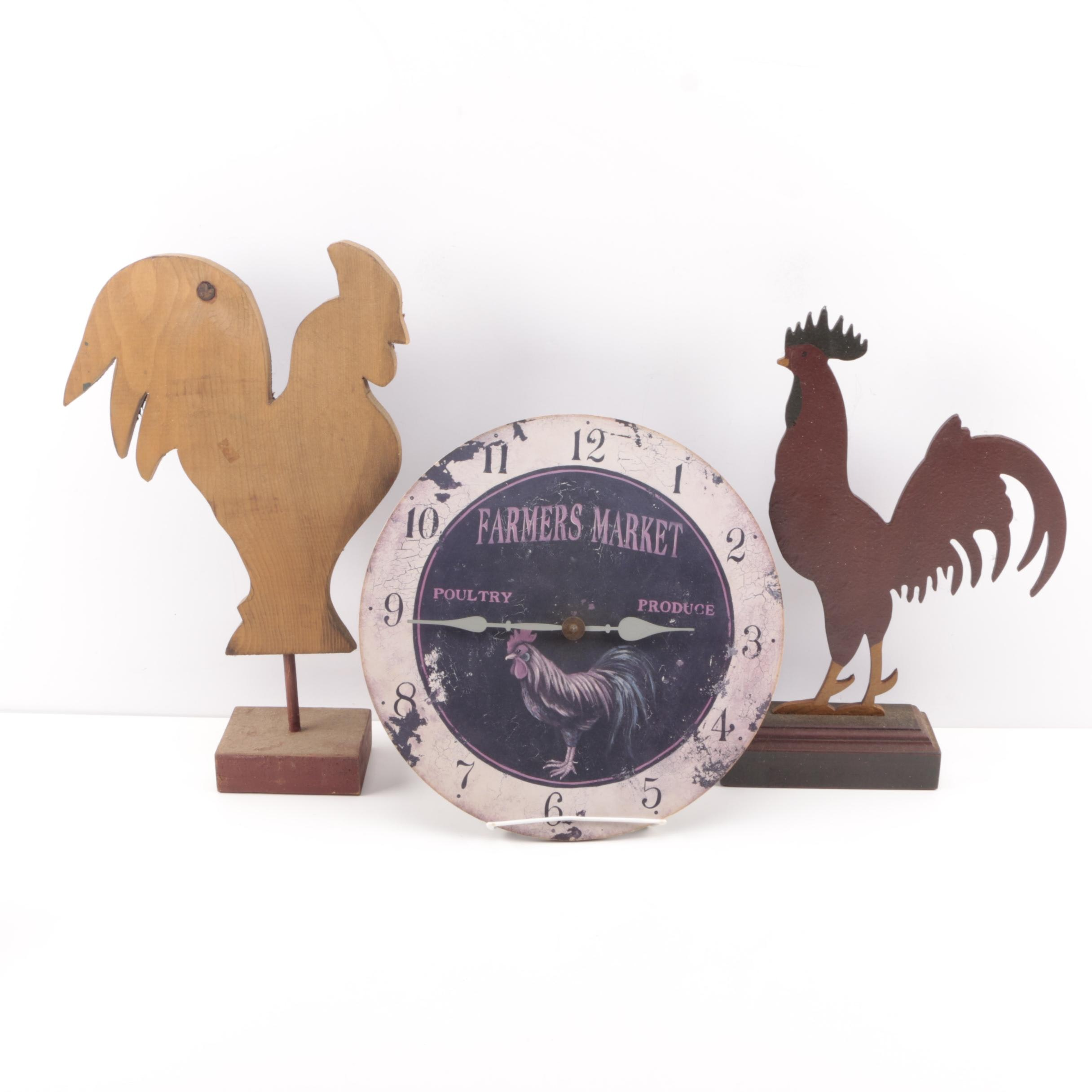 Rooster Decor Including a Clock