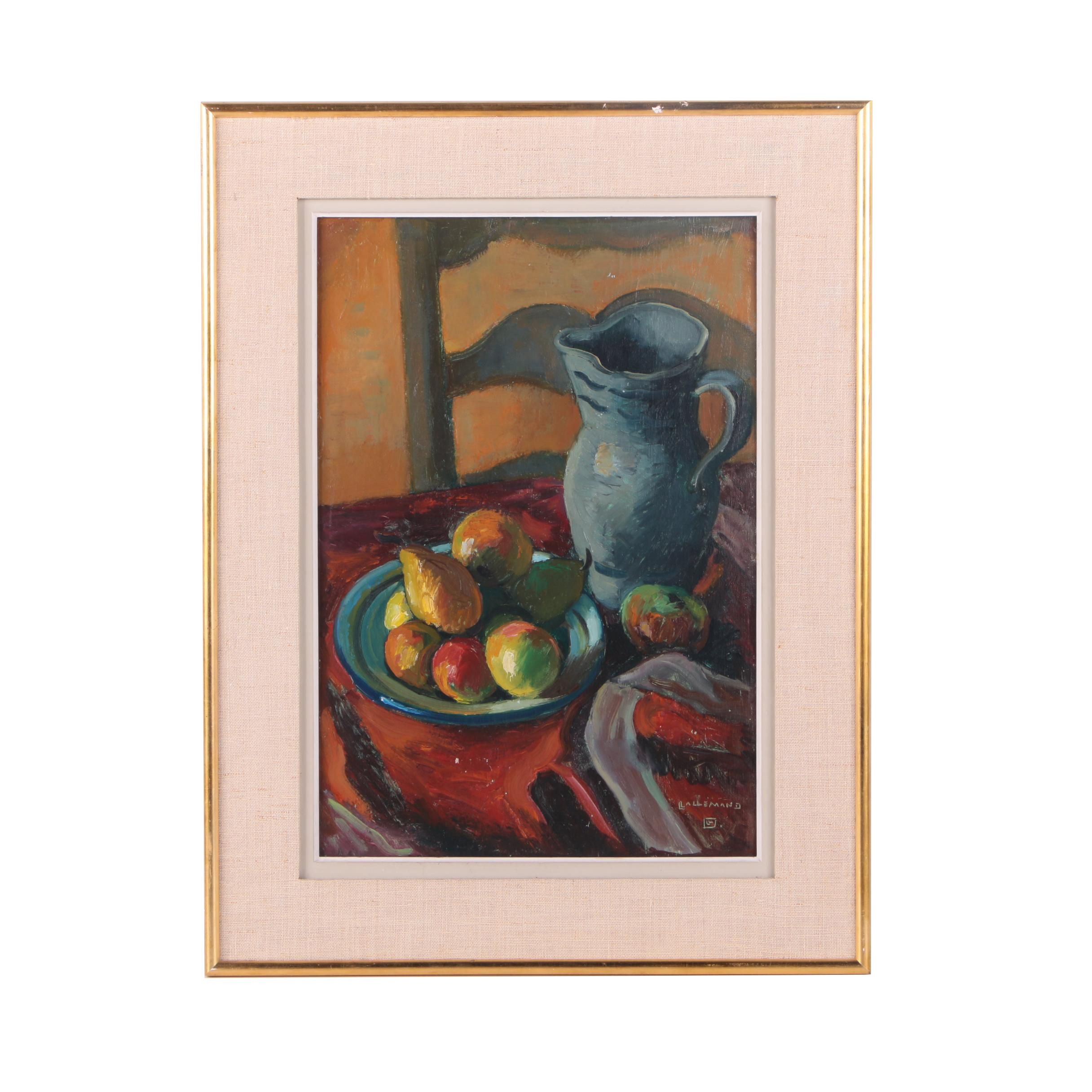 Louis Lallemand Original Oil on Canvas Still Life With Fruit