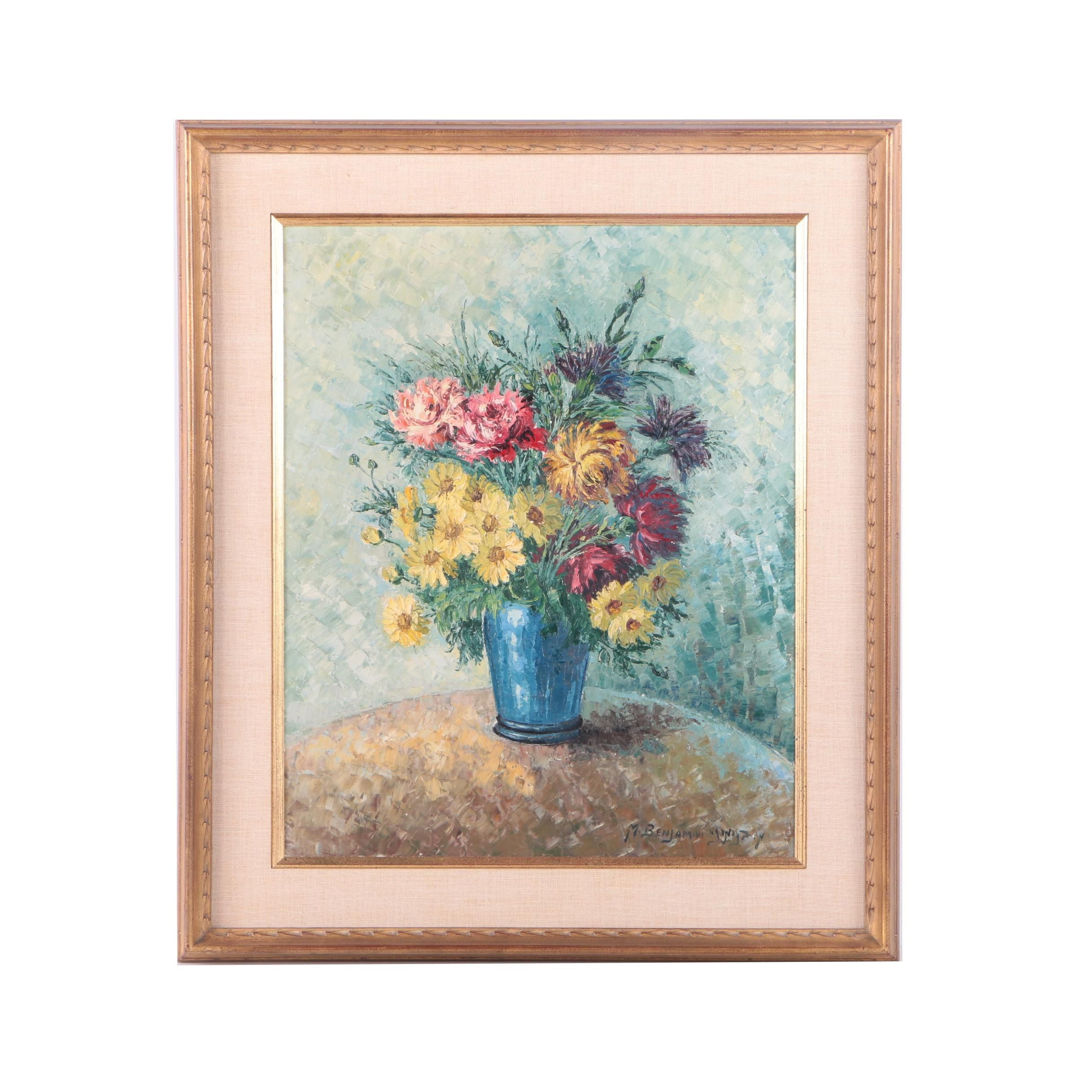 M. Benjamin Oil Painting on Canvas of Floral Still Life