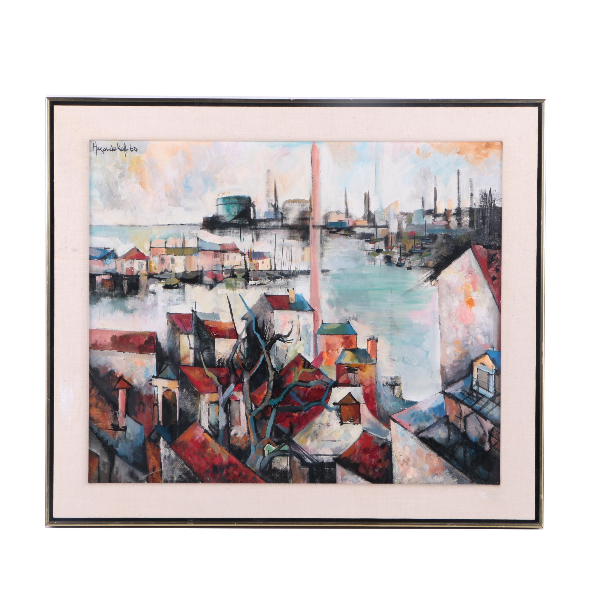 1966 Koff Oil Painting on Canvas of a City Harbor