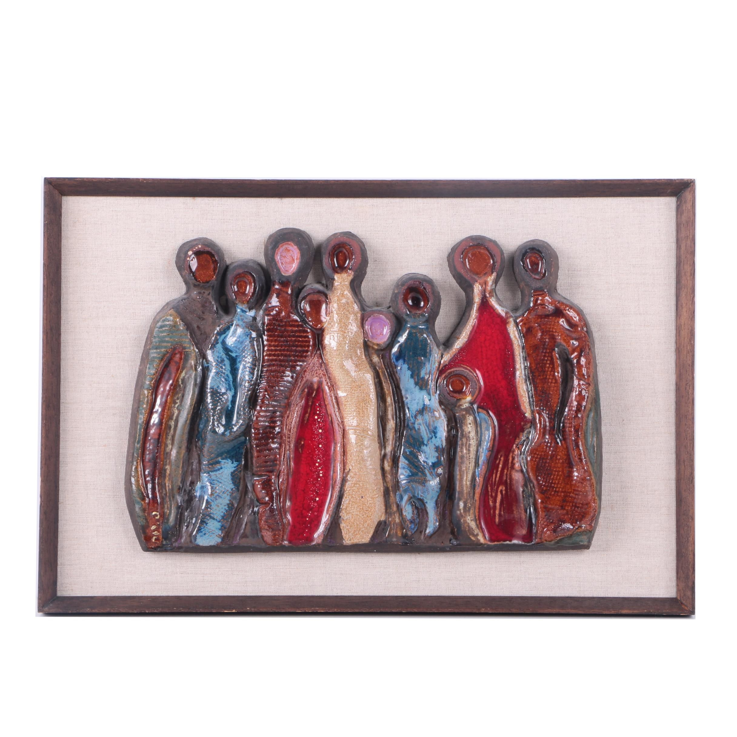 Ceramic Plaque Featuring Abstract Figures