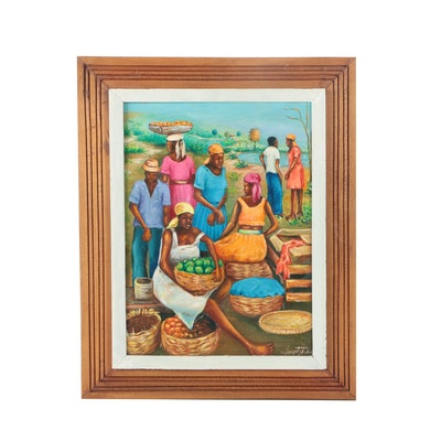 Signed Acrylic Painting on Canvas of a Caribbean Marketplace