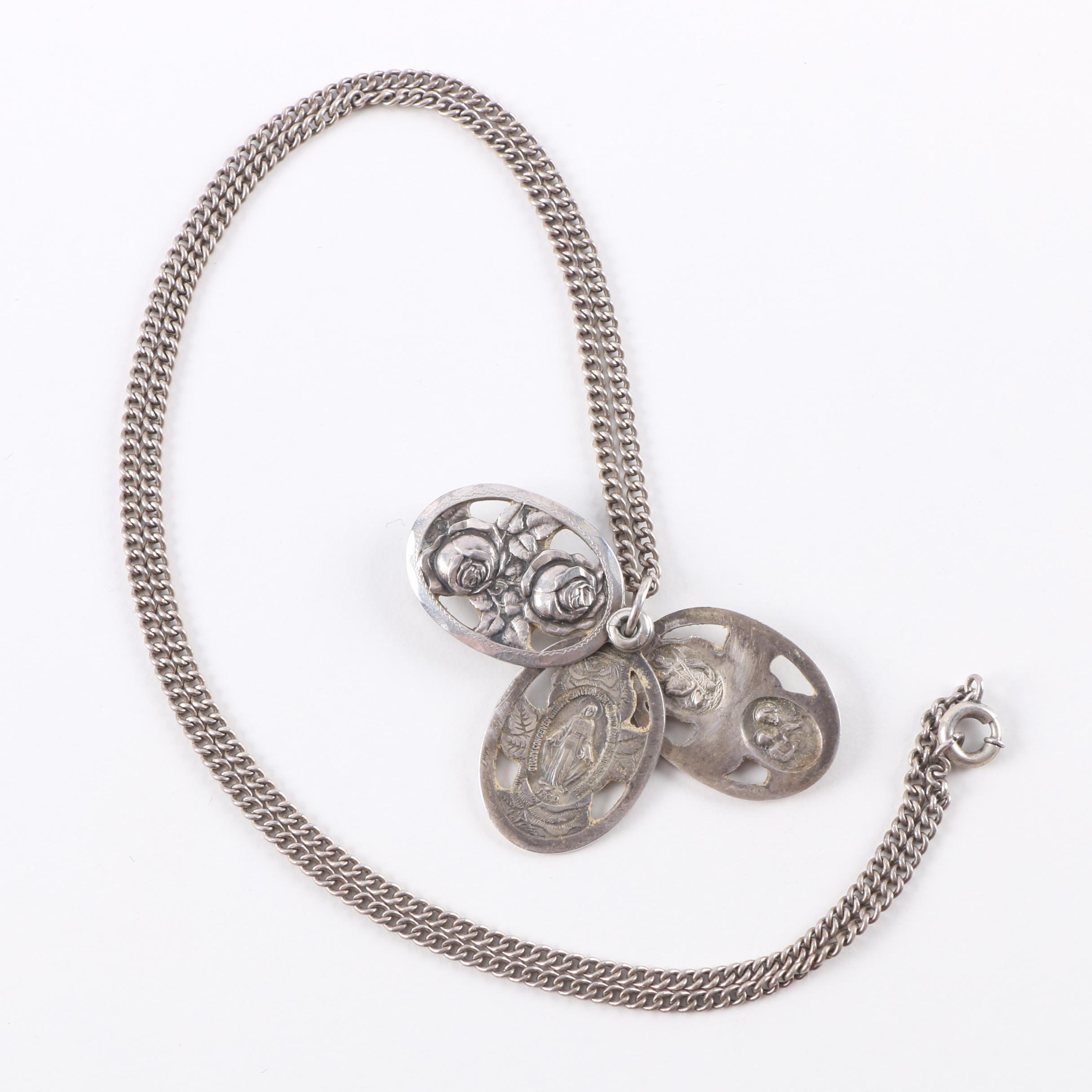 Sterling Silver Necklace With Religious Pendant