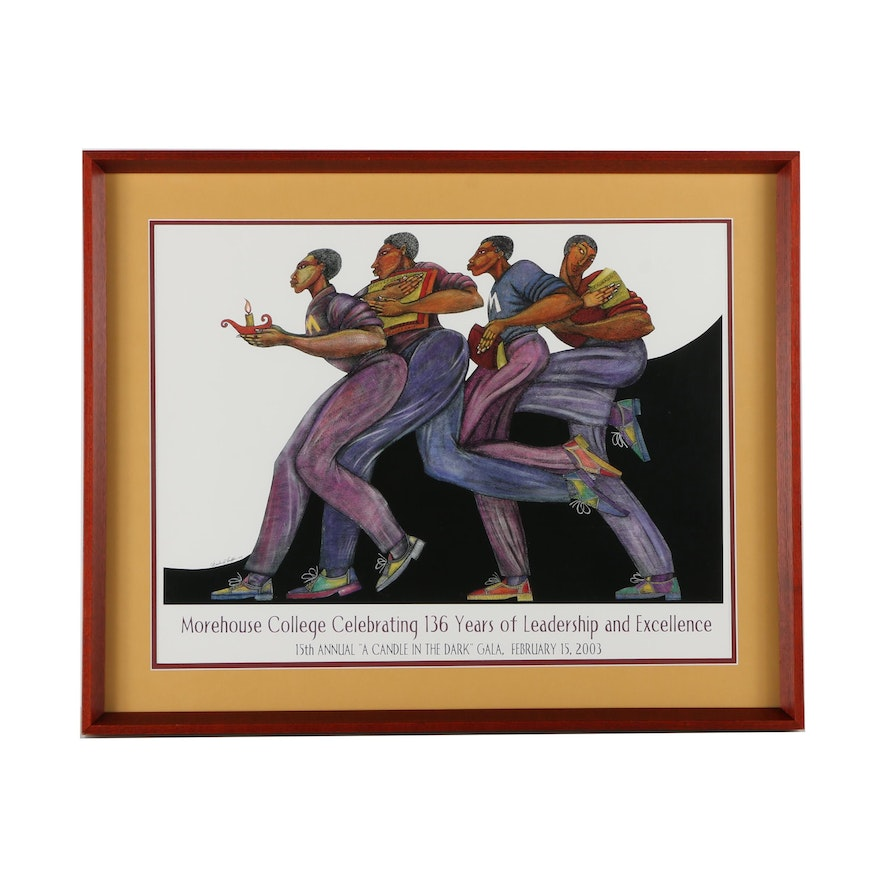 """Morehouse College Gala Offset Lithograph Poster After Charles A. Bibbs's """"From the Dark to the Light"""""""
