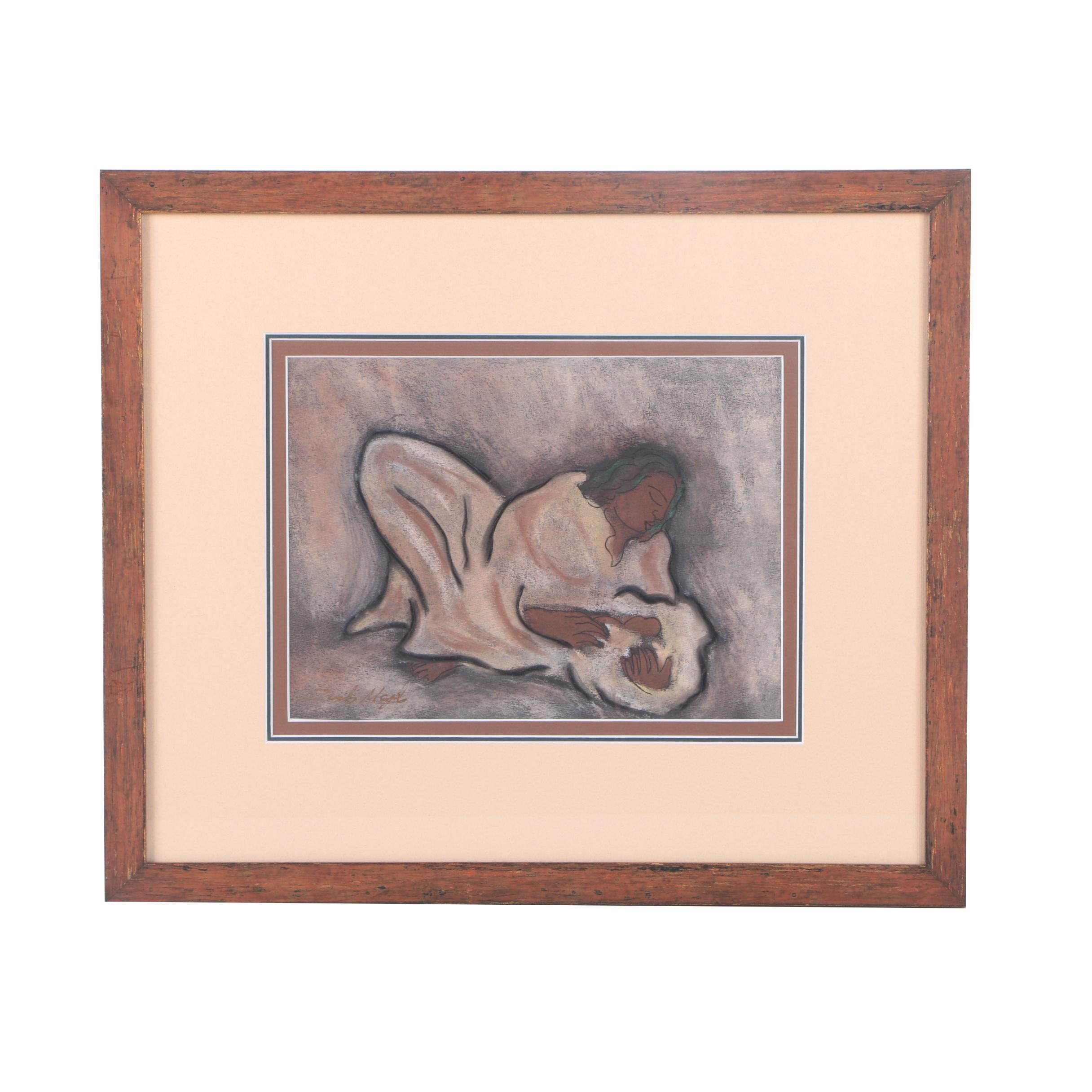Pastel Drawing on Paper of a Mother and Child