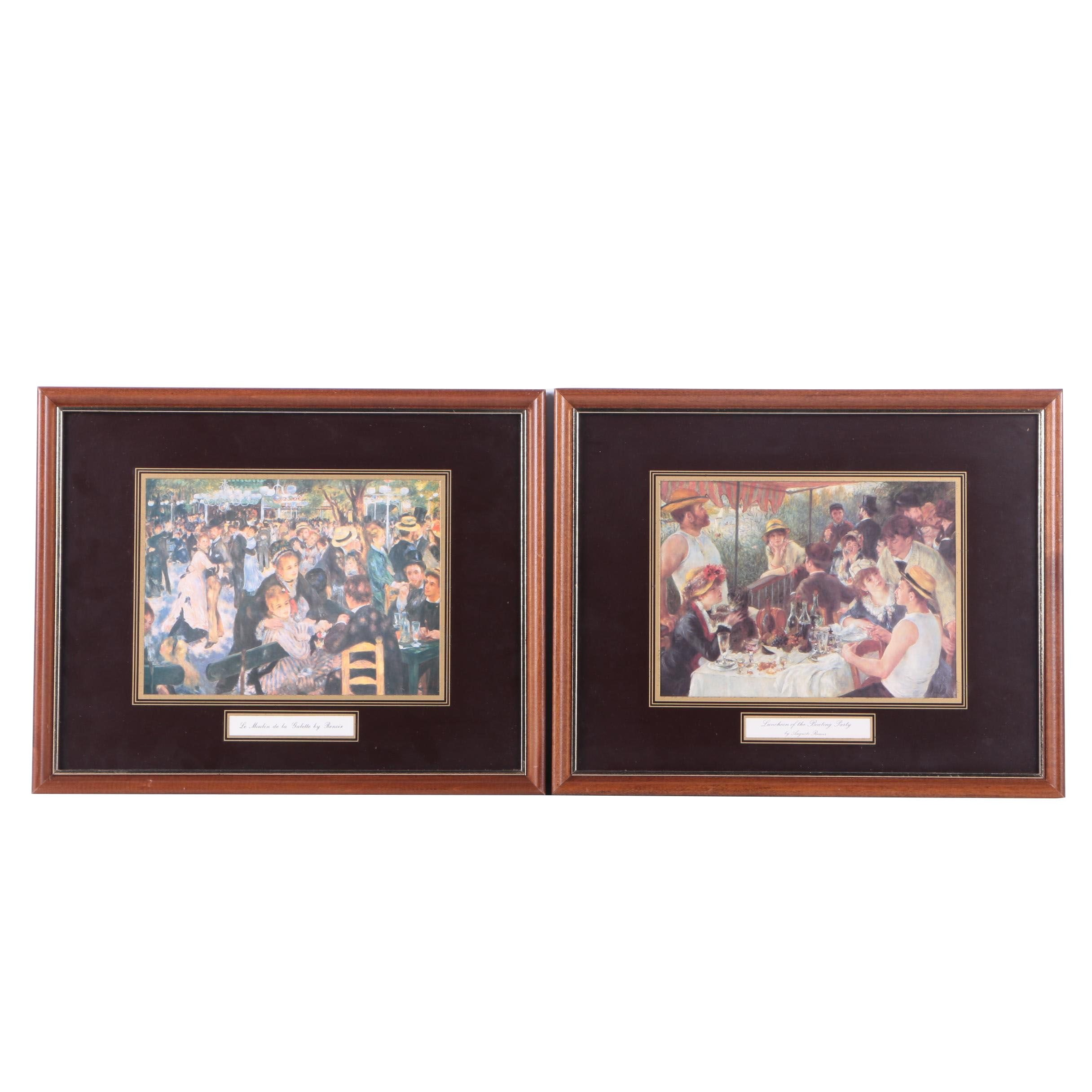 """Offset Lithographs After Renoir's """"Bal du moulin de la Galette"""" and """"Luncheon of the Boating Party"""""""