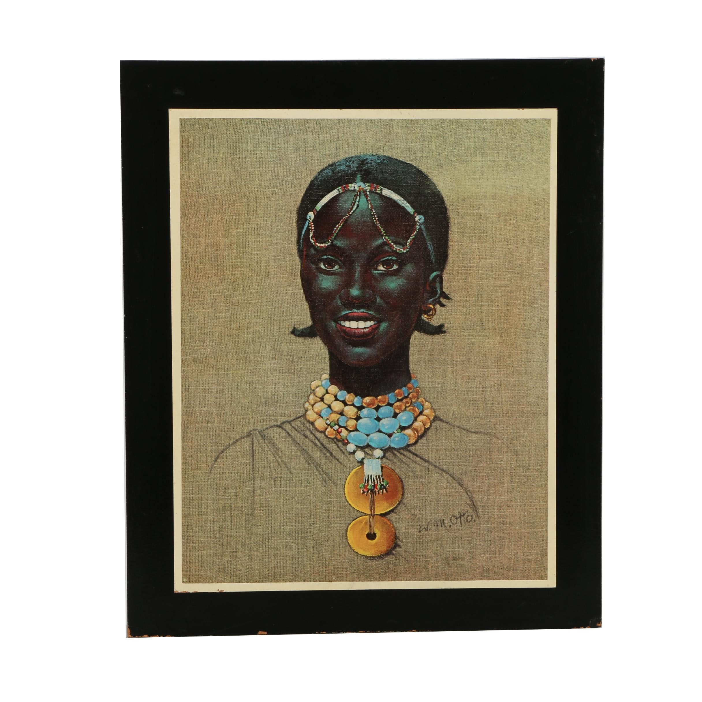 After Wolfgang Otto Offset Lithograph Print on Paper of an African Woman With Jewelry