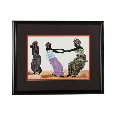 K. Raatib Offset Lithograph of Three Women Dancing
