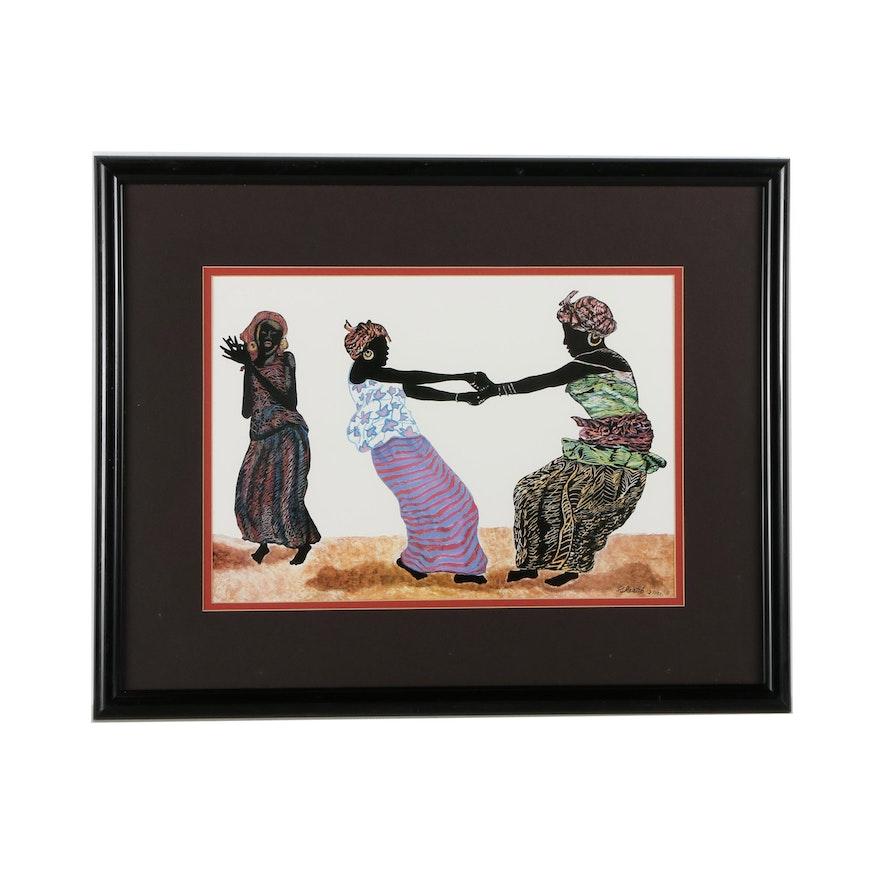 K. Raatib Offset Lithograph of Three Women Dancing