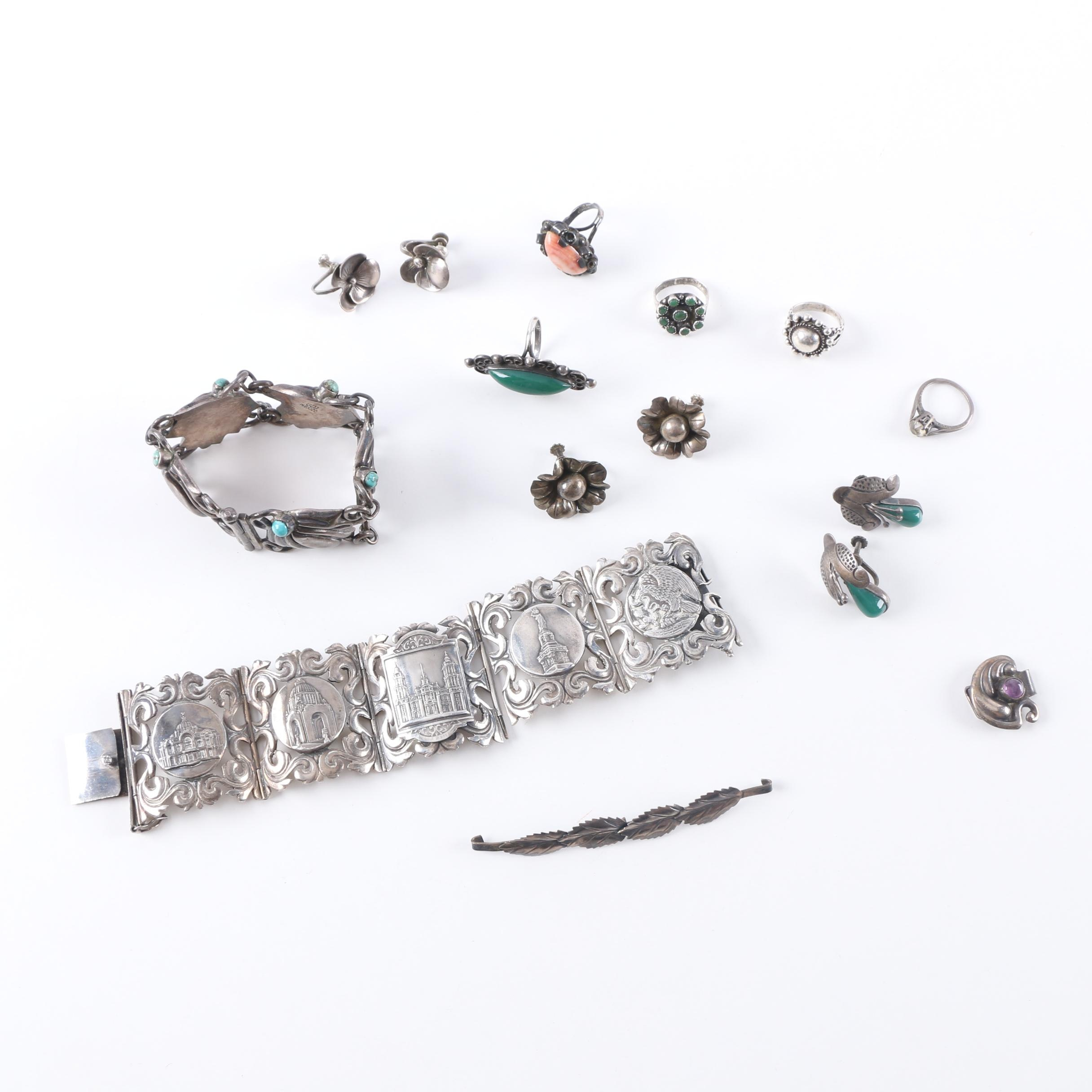 Assorted Sterling Silver Jewelry Including a Turquoise Bracelet