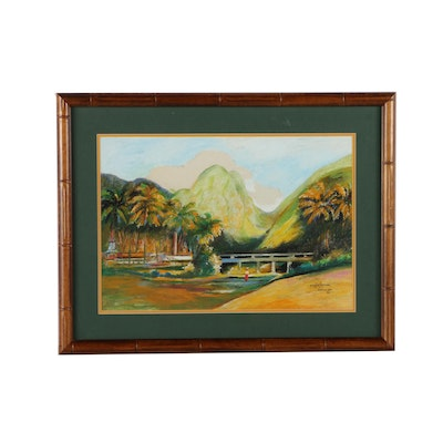 "H. Charpentier Original Mixed Media Painting ""Martinique"""