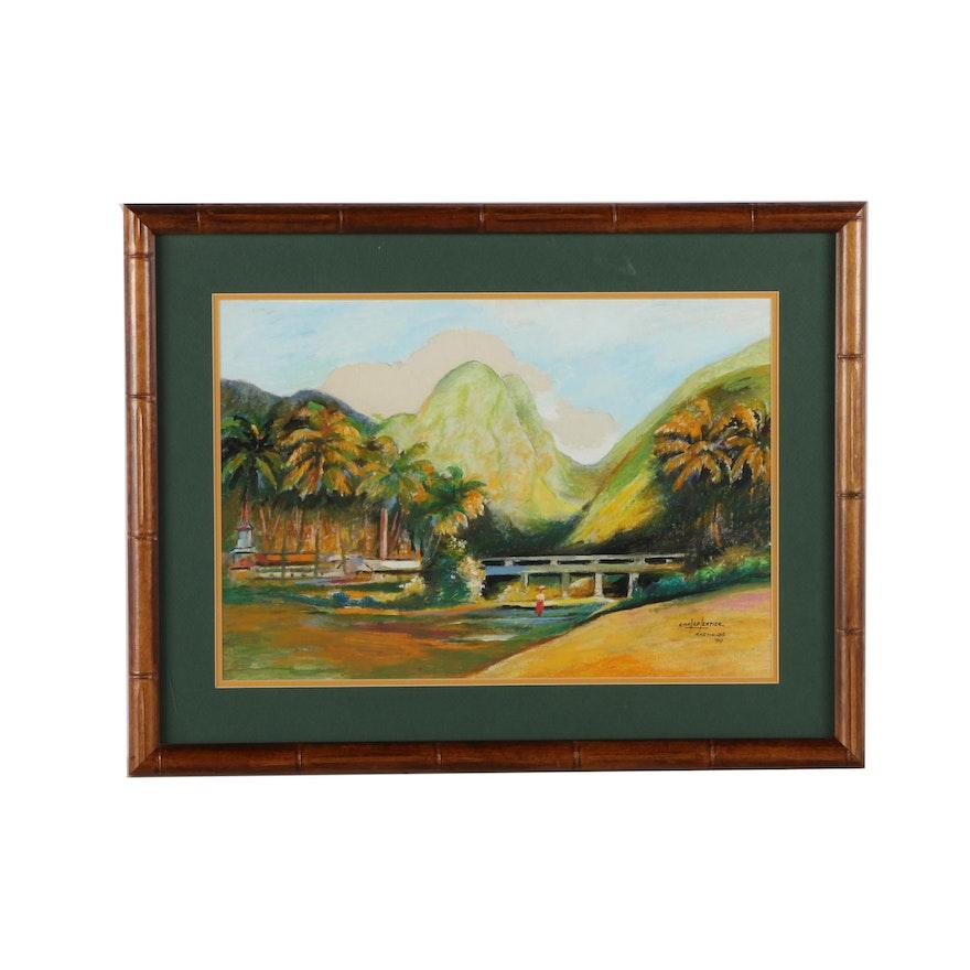 "H. Charpentier Original Mixed Media Painting ""Martinique"""
