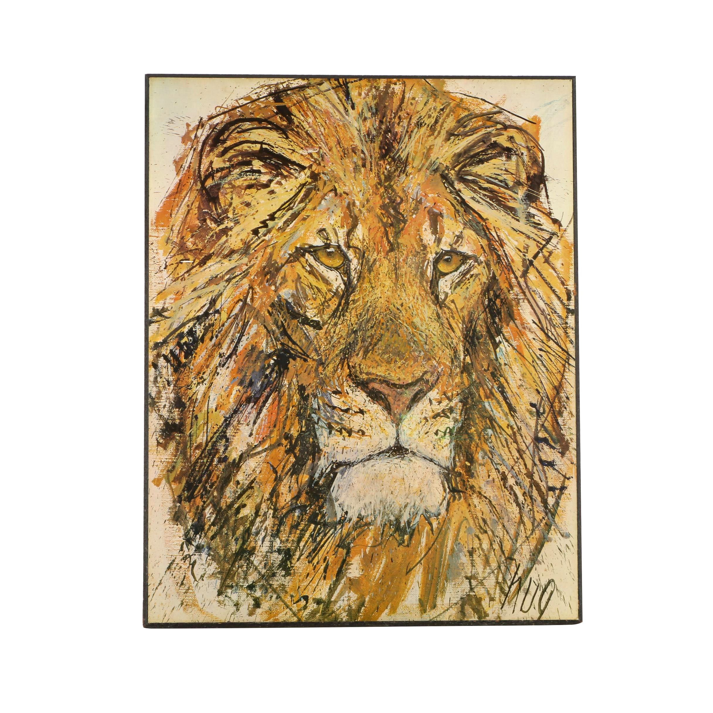After Fritz Rudolf Hug Offset Lithograph on Paper of a Lion
