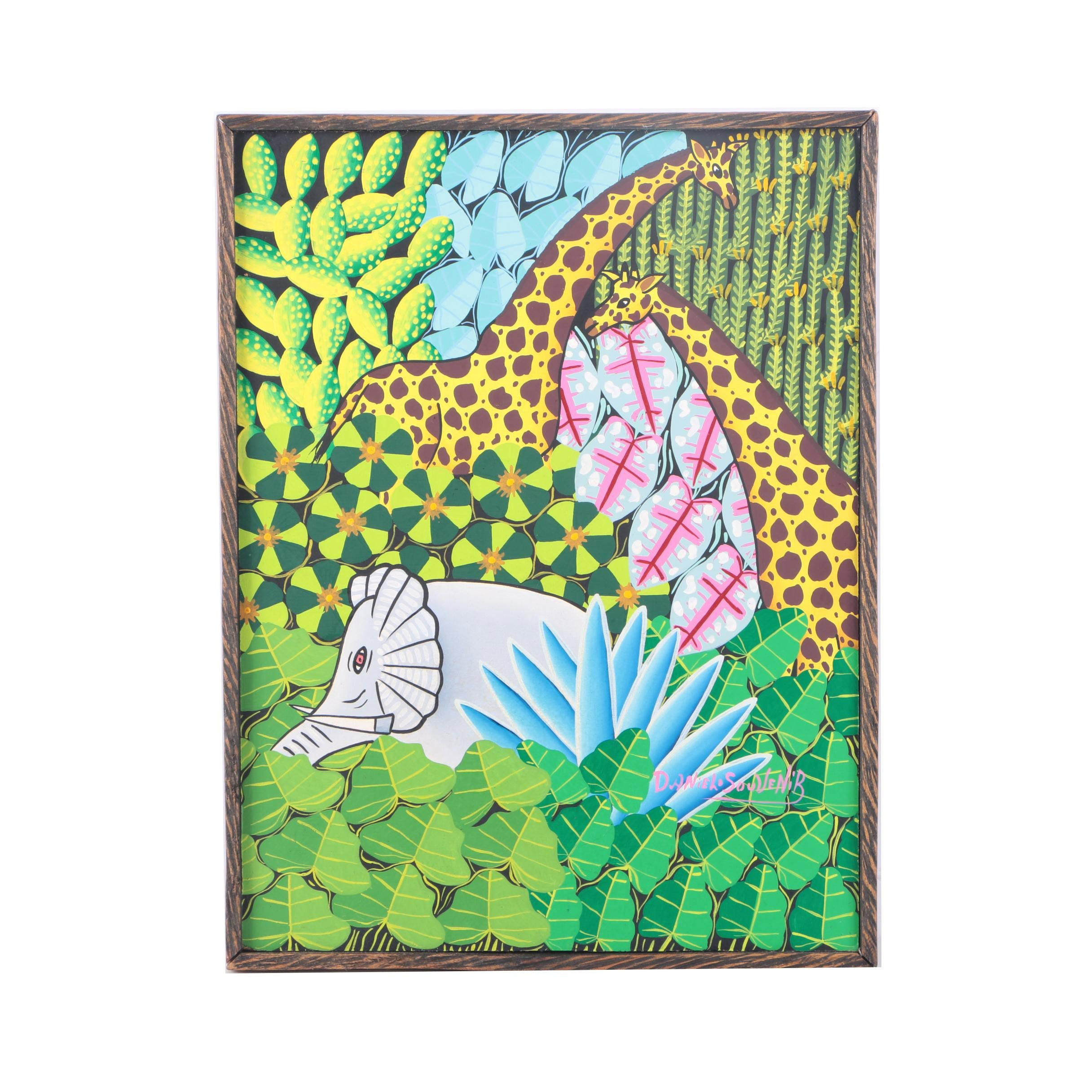 Daniel Souvenir Acrylic Painting of Animals in the Jungle