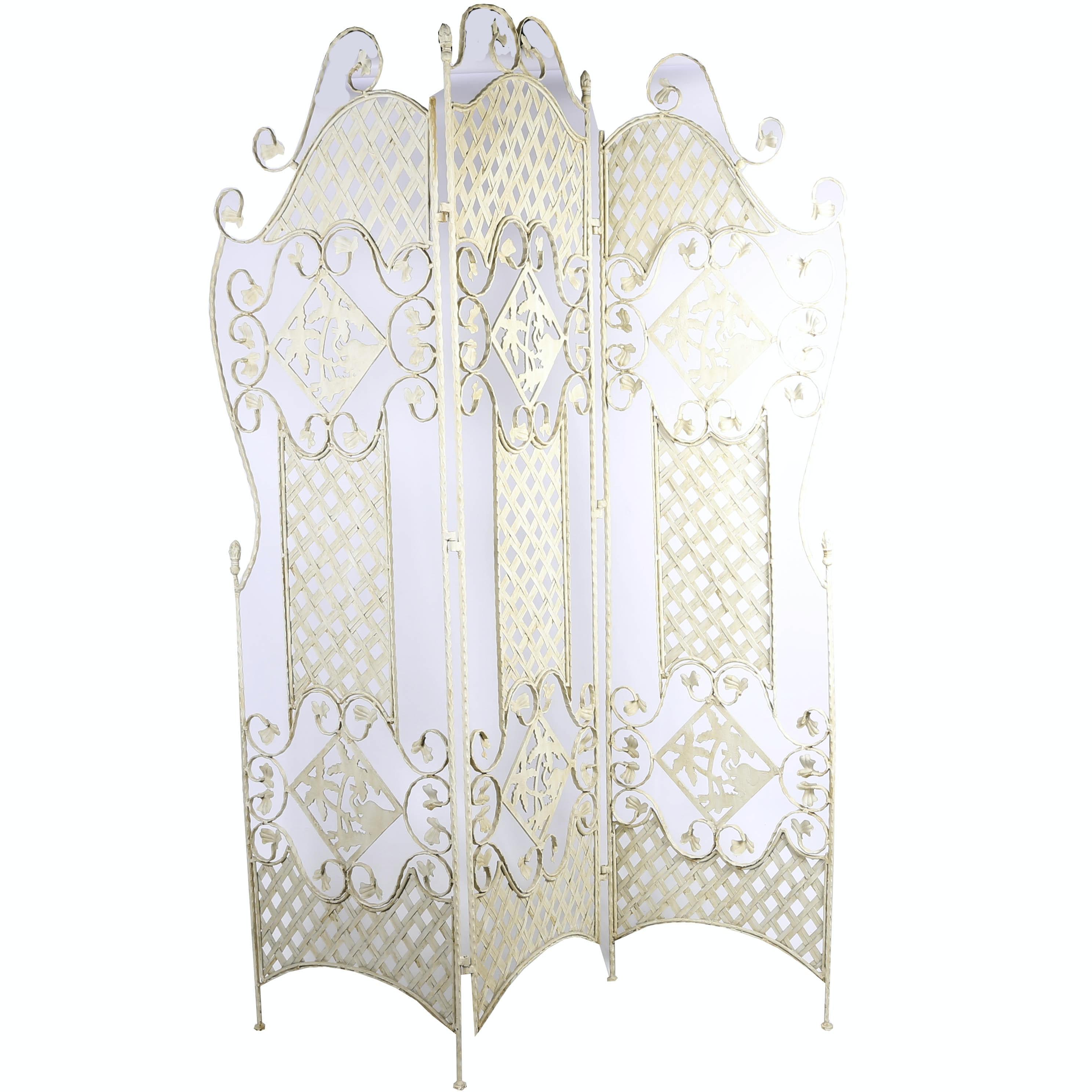 White Painted Iron Folding Screen