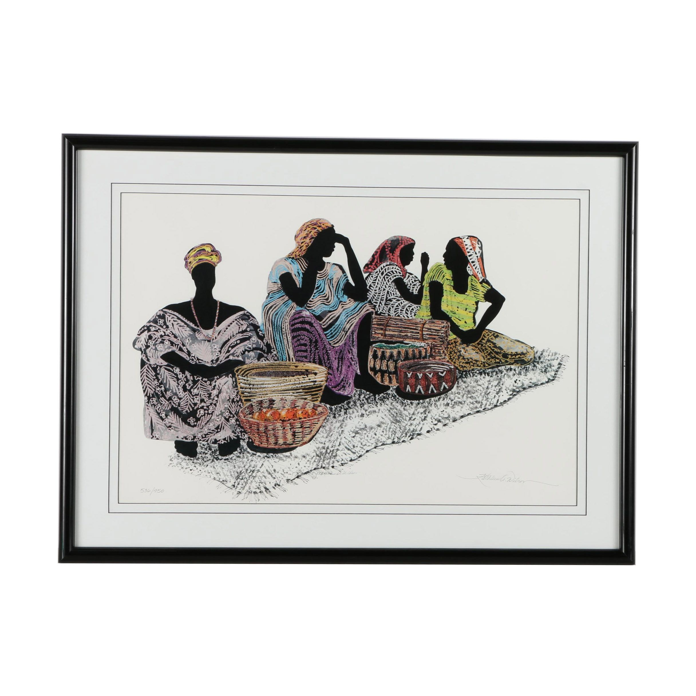 "Kathleen A. Wilson Limited Edition Offset Lithograph ""Native Women"""