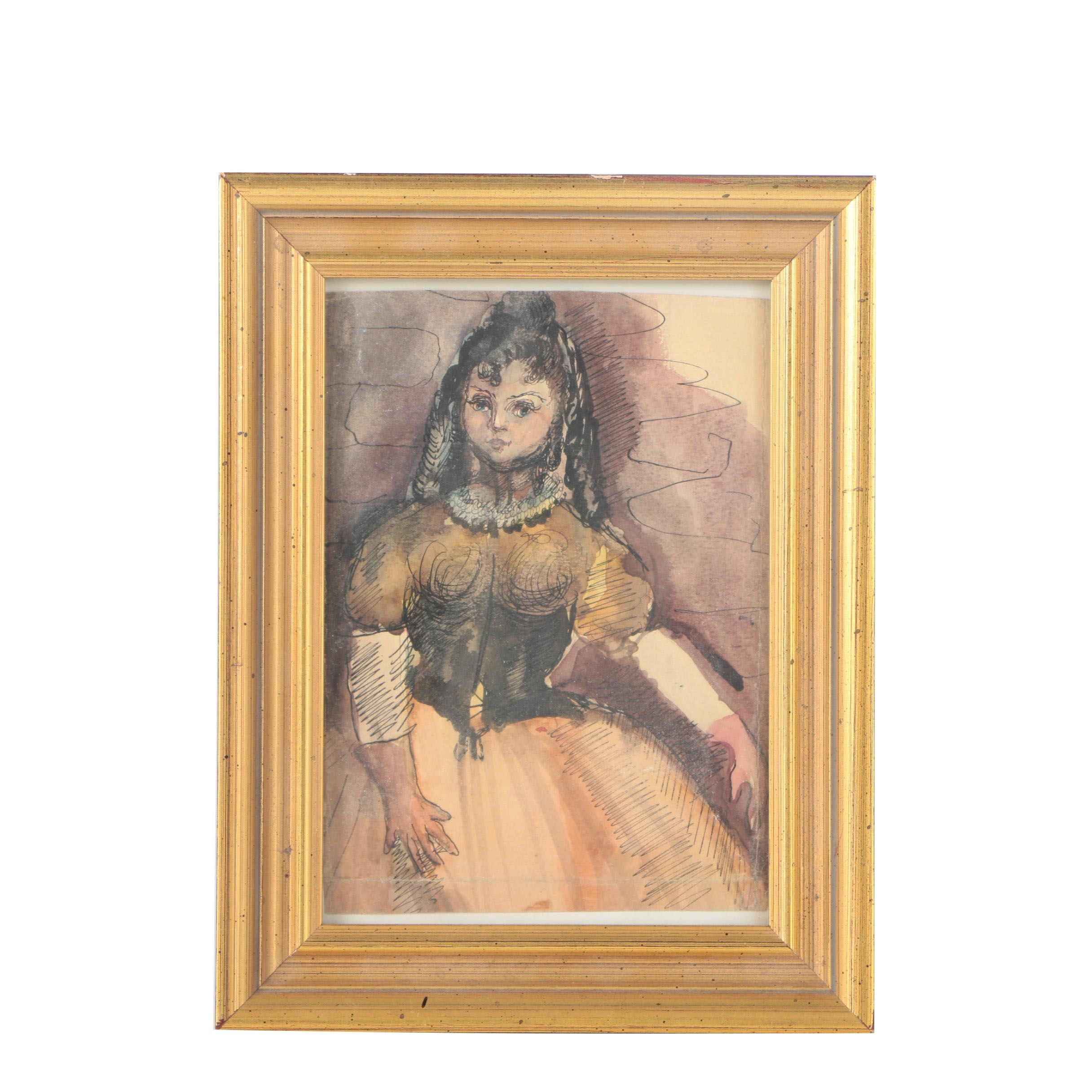 Framed Watercolor Painting of Young Woman