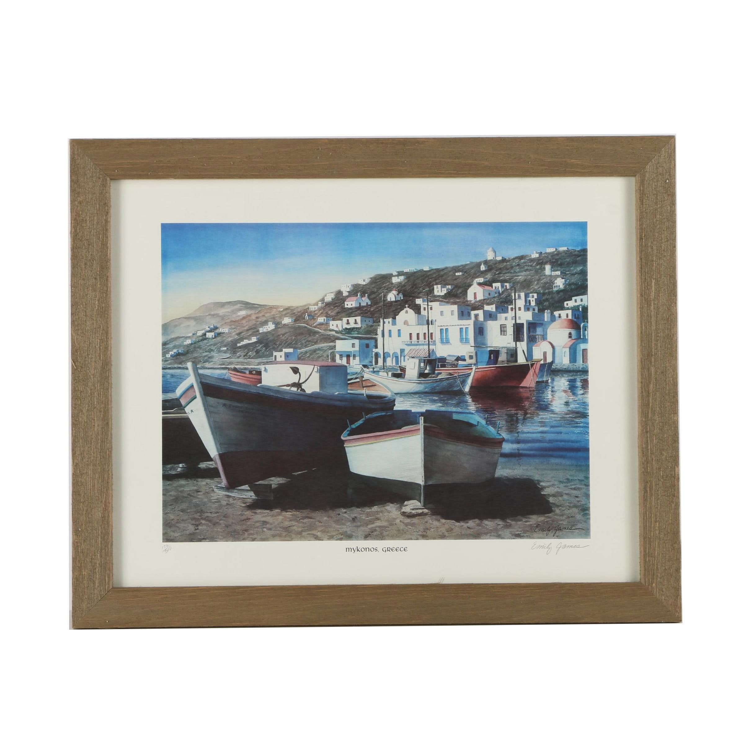 "Emily James Limited Edition Offset Lithograph ""Mykonos, Greece"""