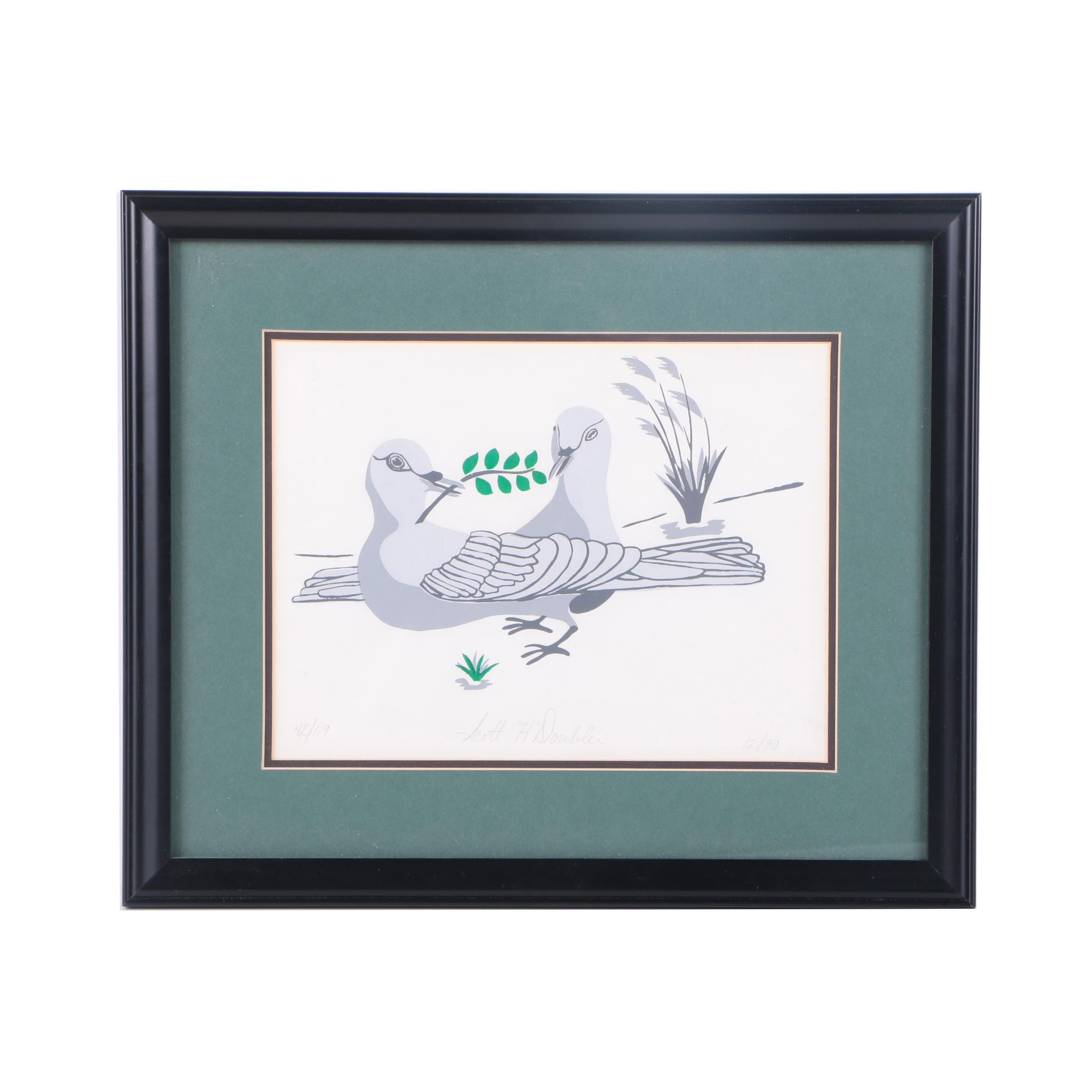 Scott H. Doubler Limited Edition Serigraph of Pigeons