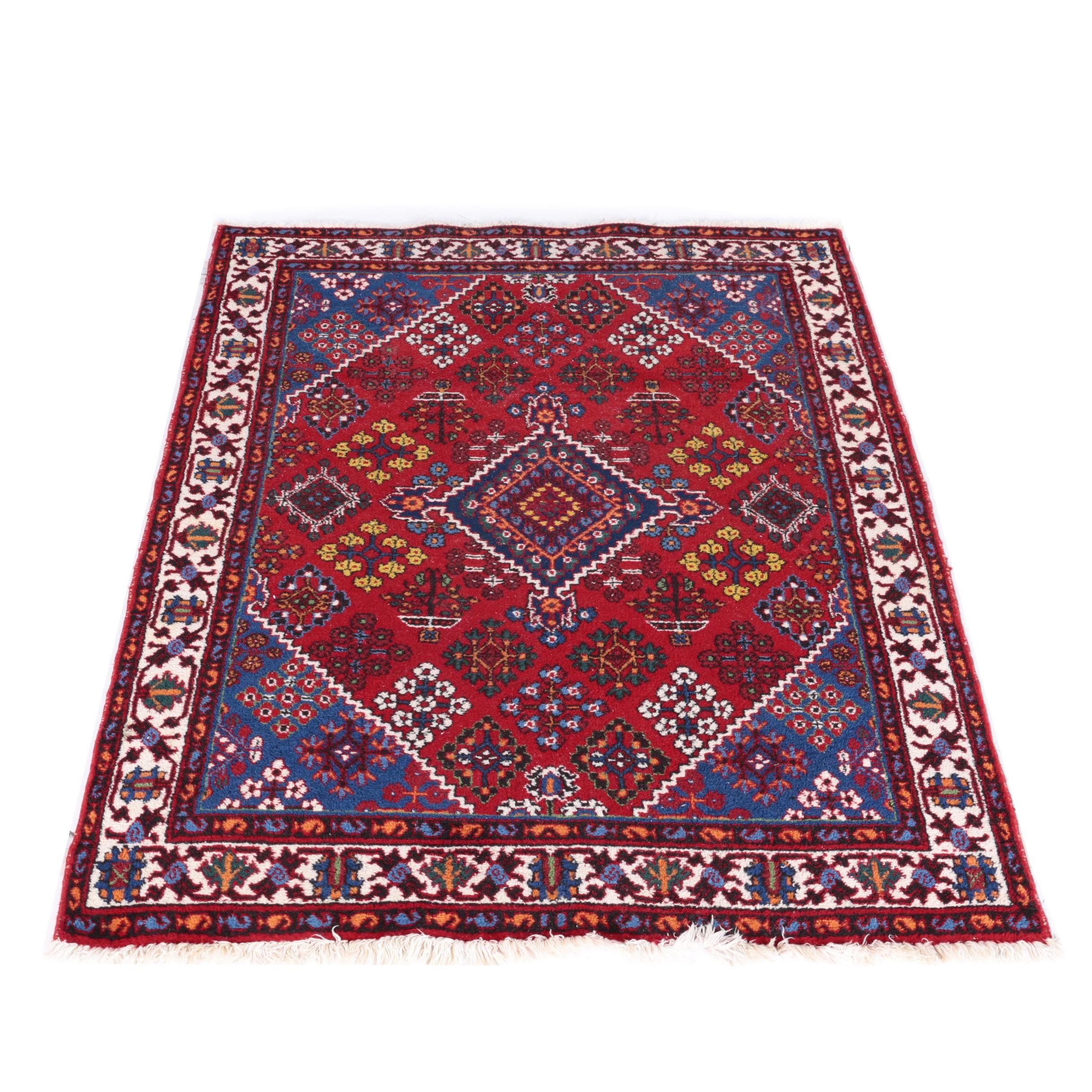Hand-Knotted Persian Khamseh Area Rug