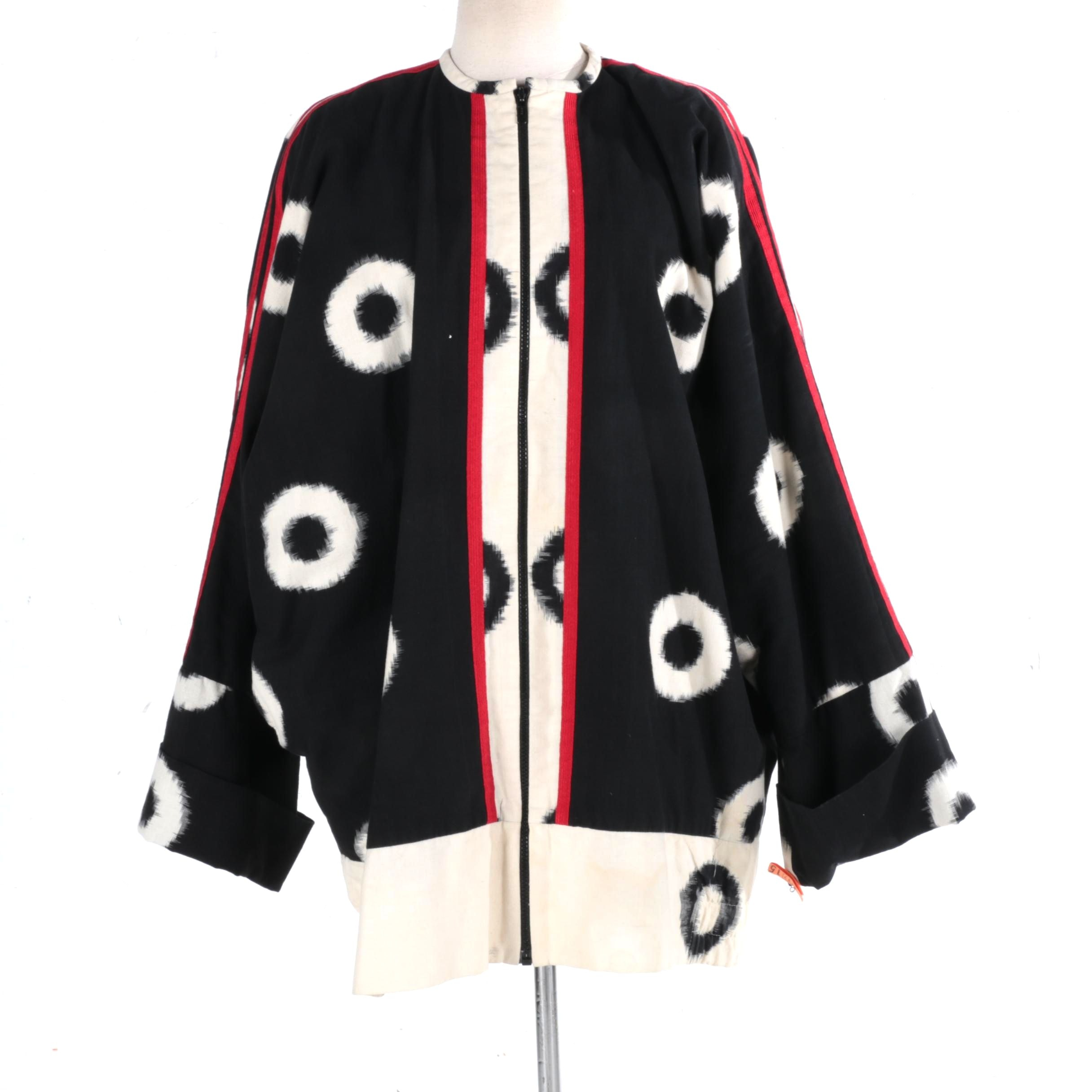 Cassowary Patterned Jacket With Dolman Sleeves