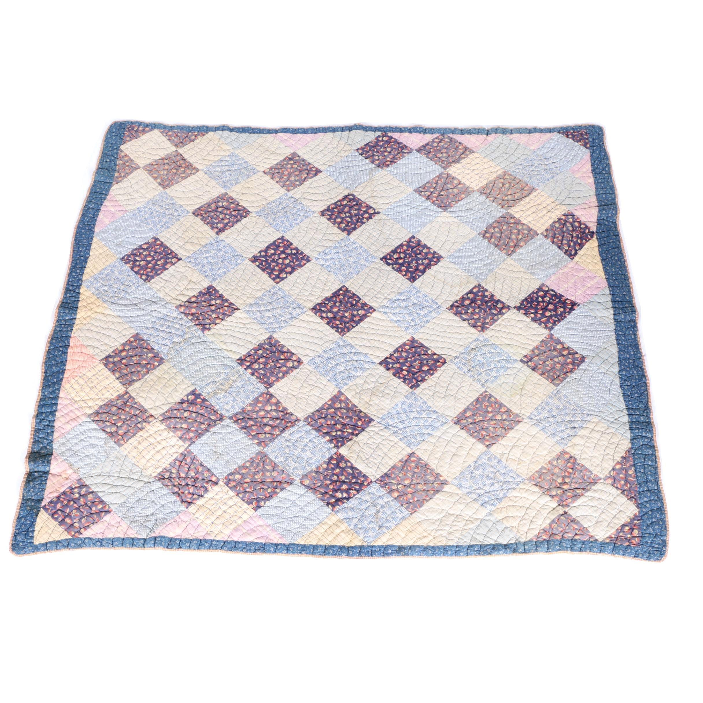 Vintage Hand Picked Block Pattern Quilt