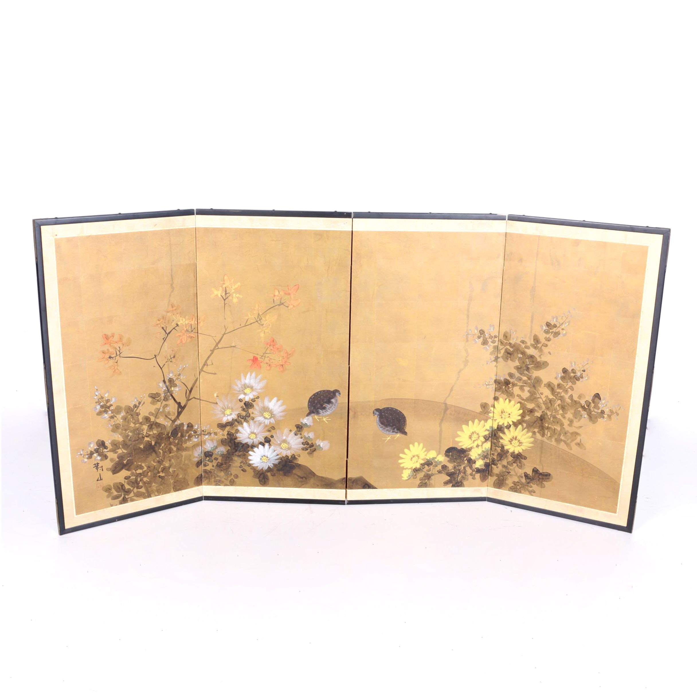 Japanese Four-Panel Floral Painted Screen