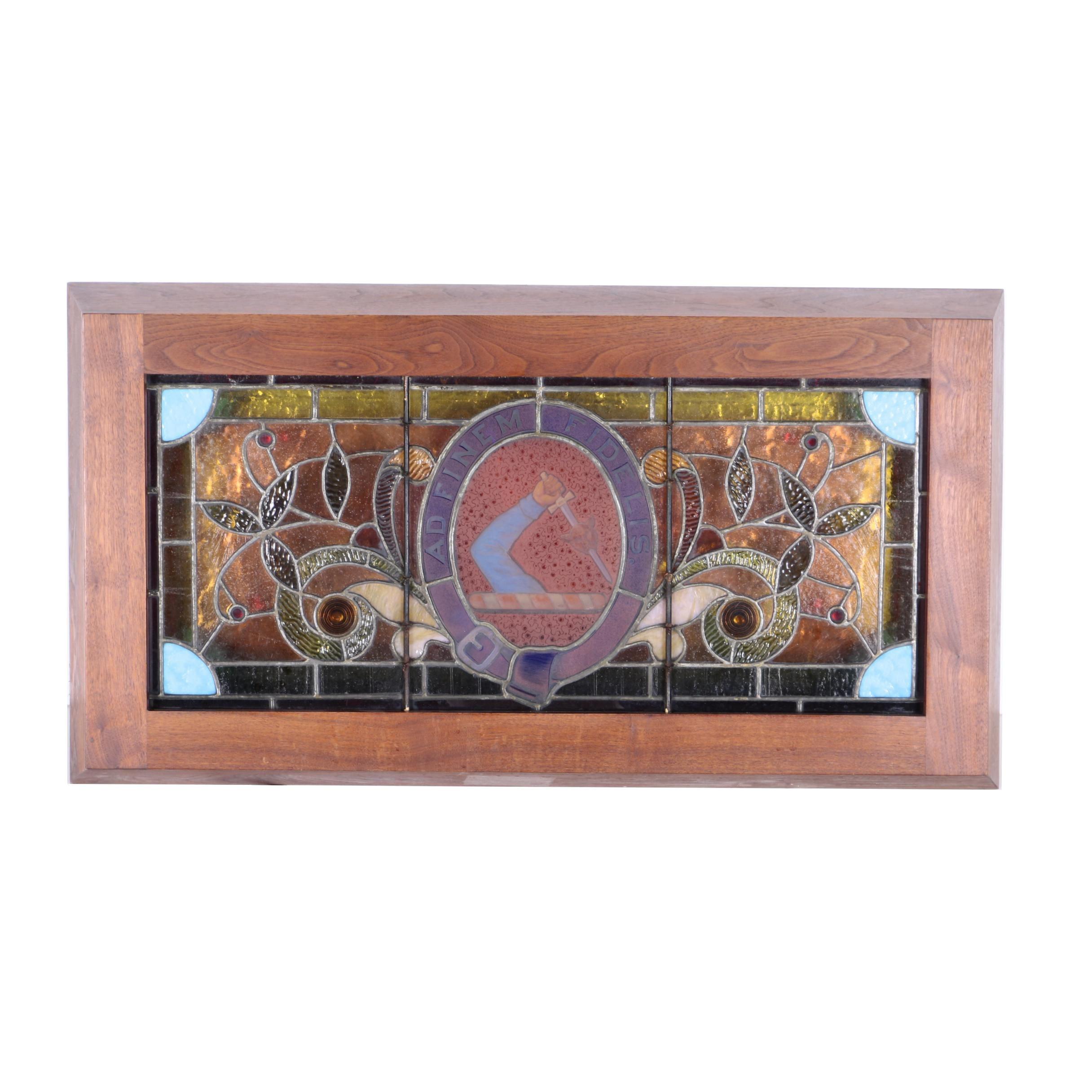 """Art Nouveau """"Ad Finem Fidelis"""" Stained Glass Panel"""