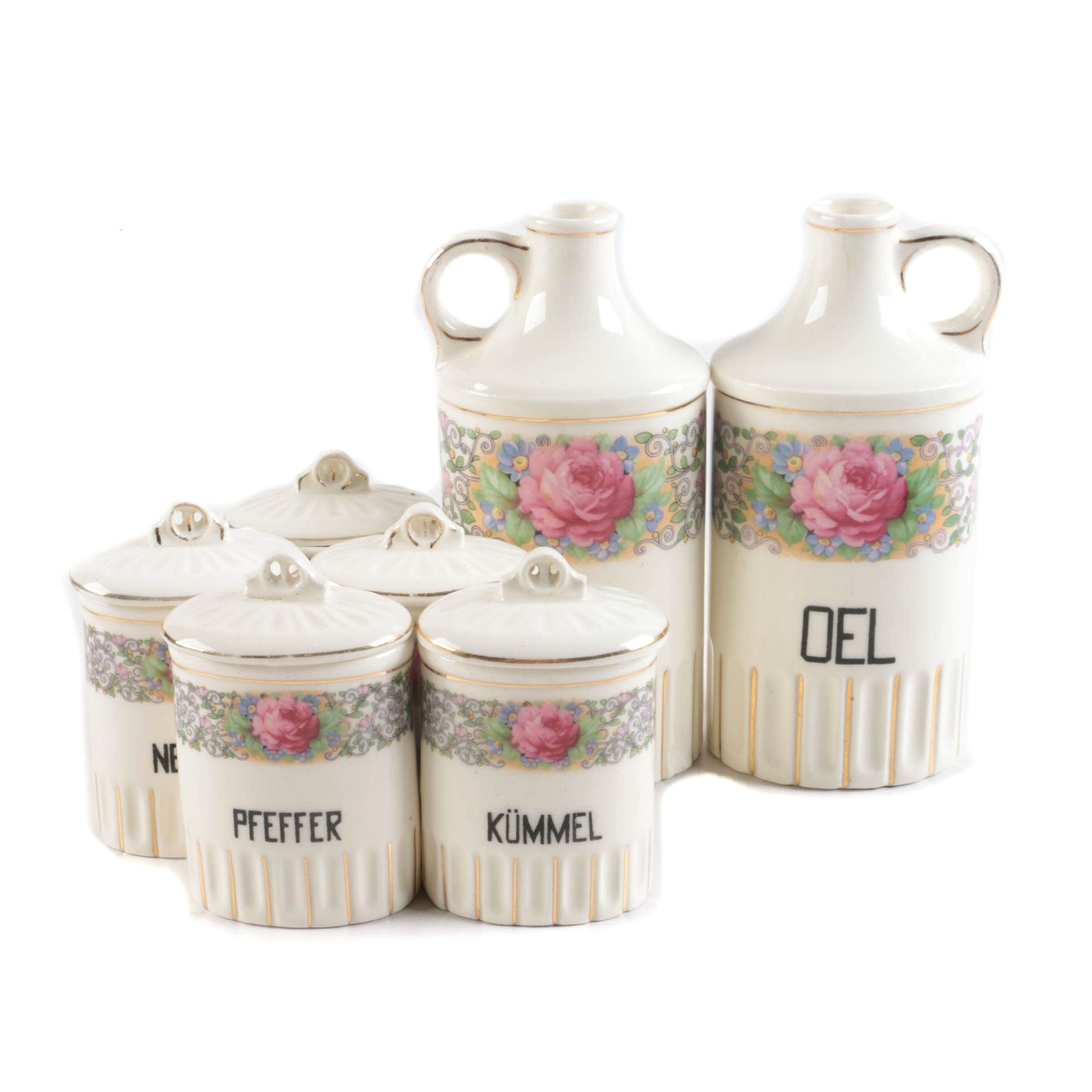 Ceramic Vinegar and Oil Cruets and Spice Containers With German Labels