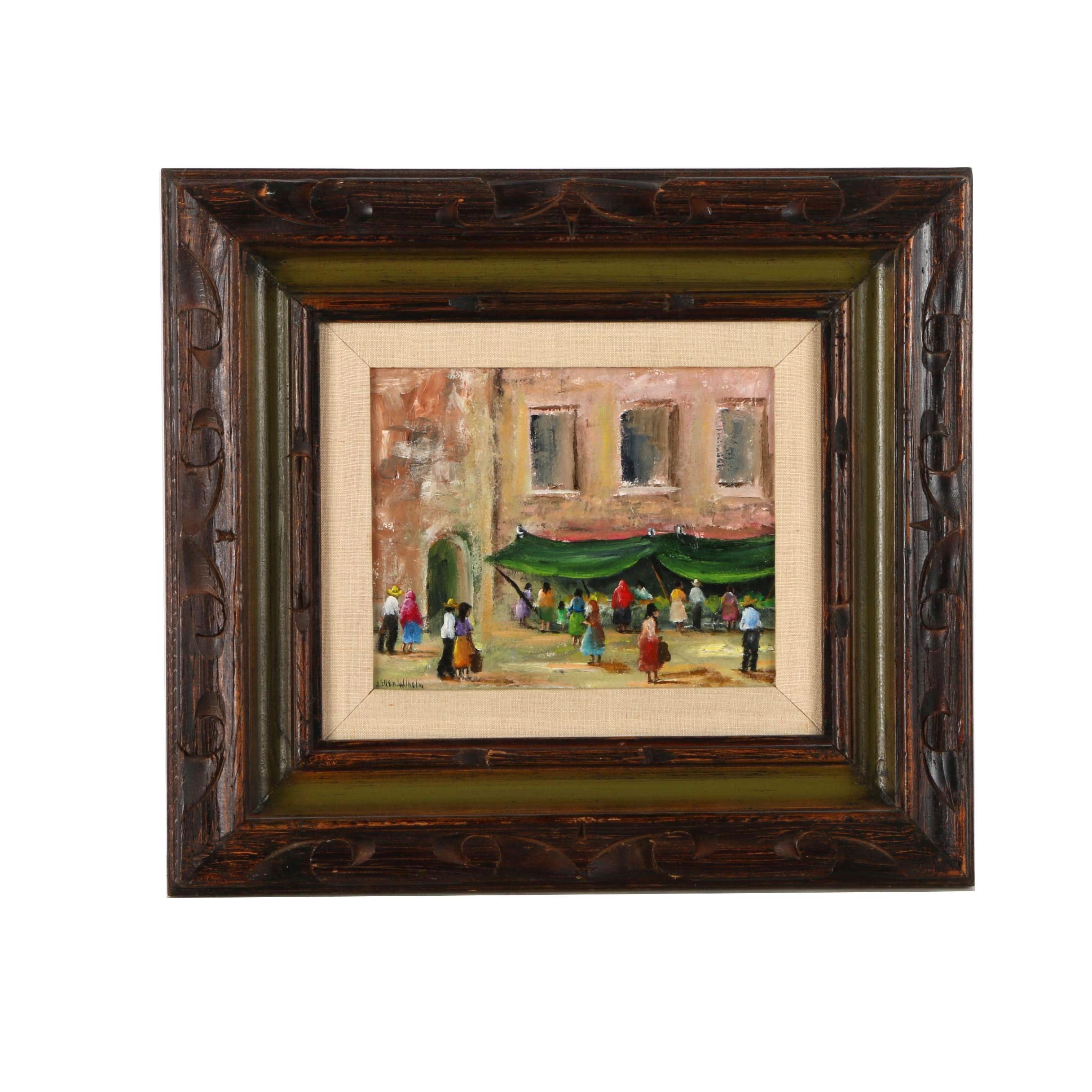 J. Ellen Wilhelm Oil Painting on Canvas Board of a City Street