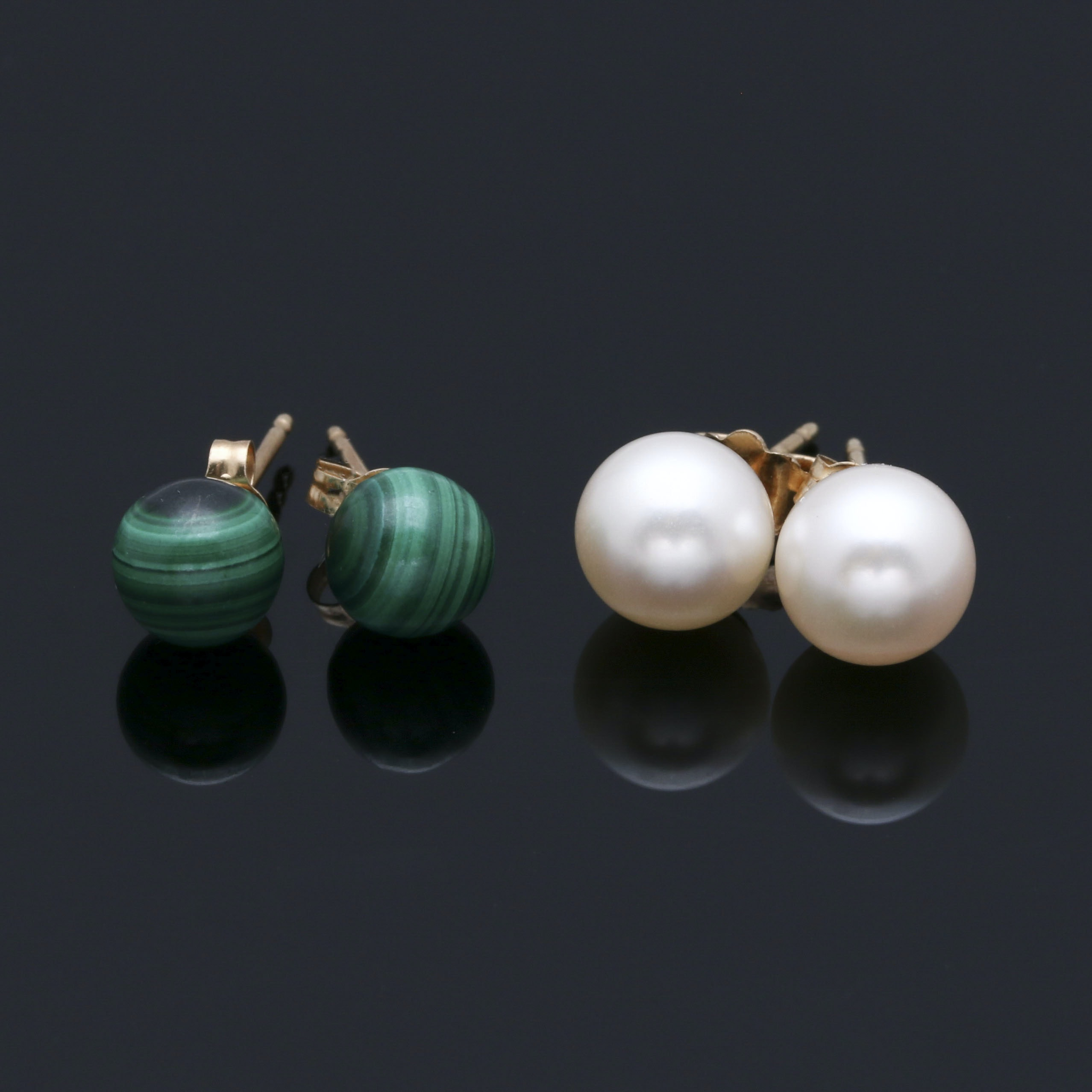 14K Yellow Gold Cultured Pearl and Malachite Stud Earrings
