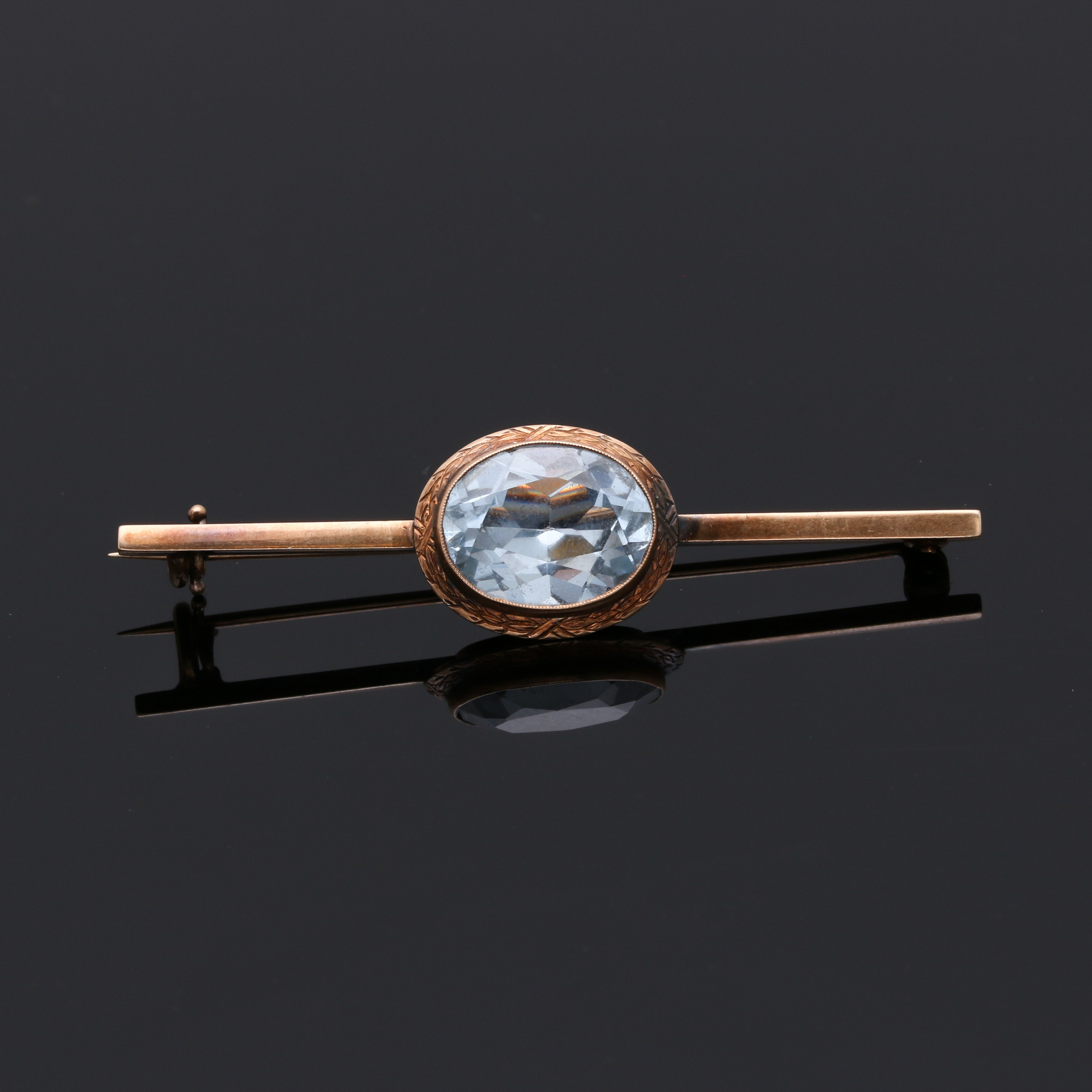 Vintage 14K Yellow Gold Spinel Brooch