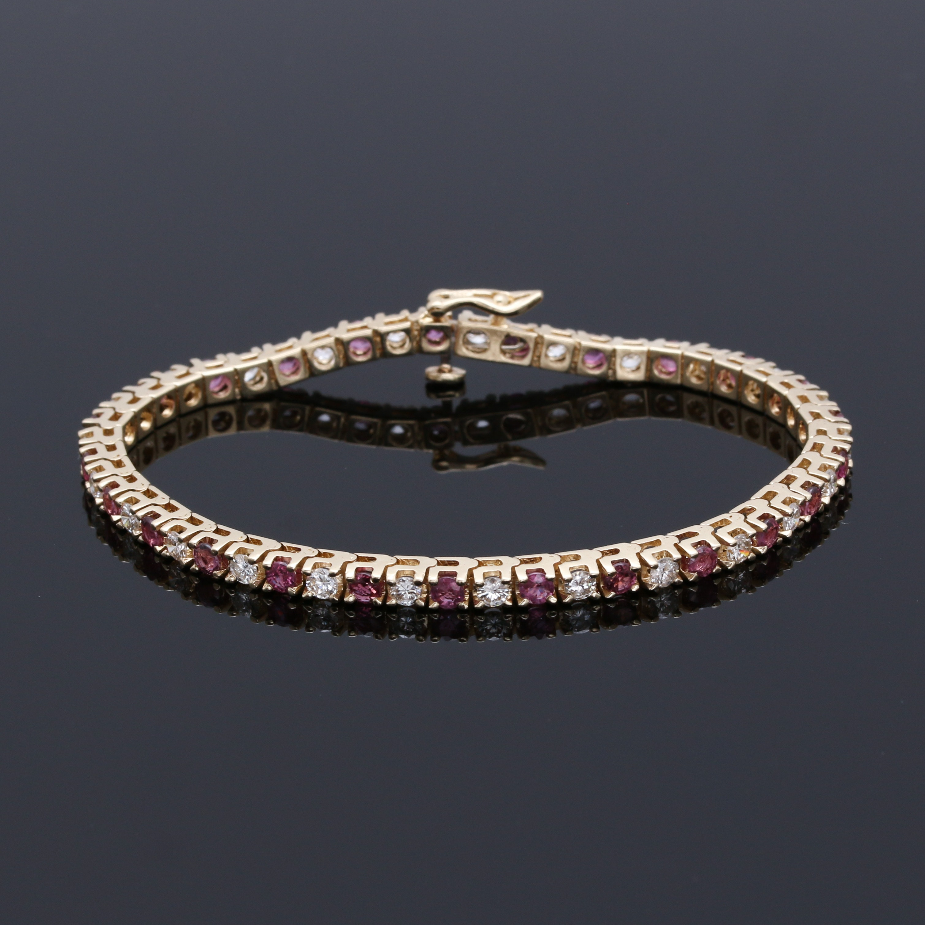 14K Yellow Gold 1.63 CTW Diamond and Ruby Tennis Bracelet