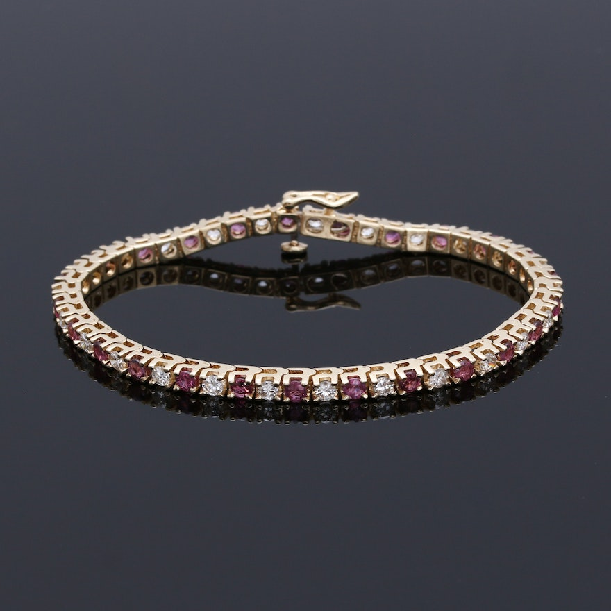 14k Yellow Gold 1 63 Ctw Diamond And Ruby Tennis Bracelet