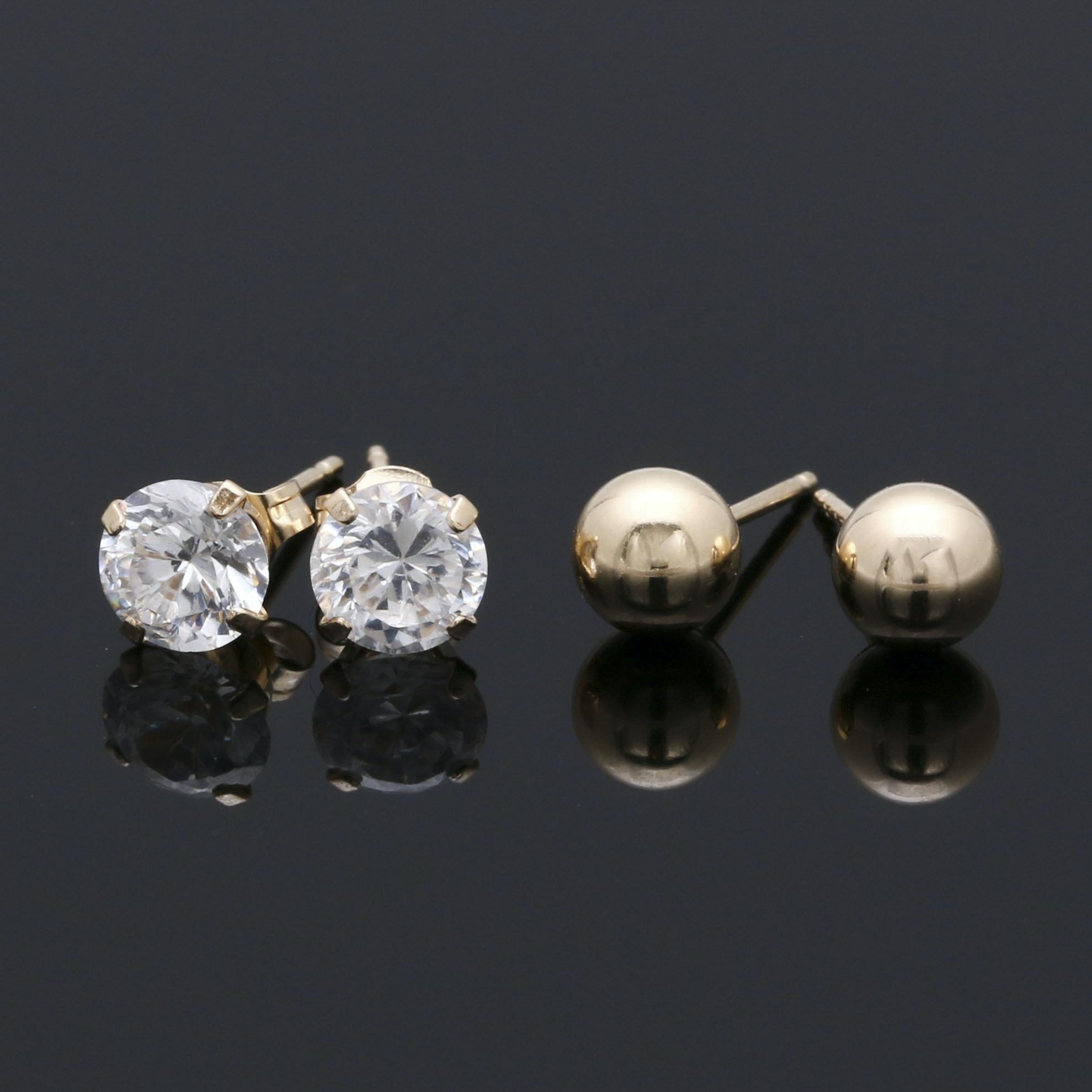 14K Yellow Gold Cubic Zirconia Earrings Selection