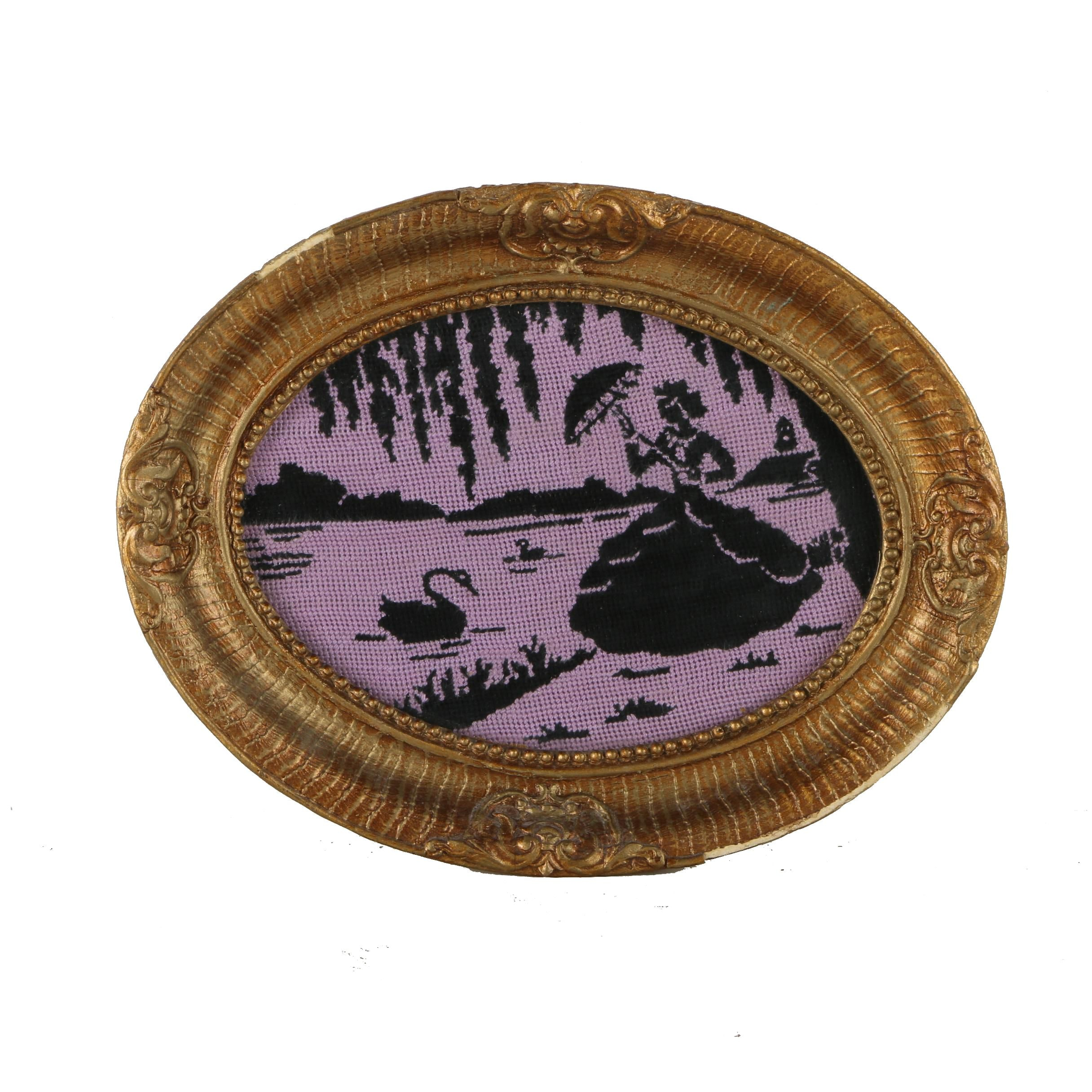 Needlepoint Picture of a Woman Beside a Lake