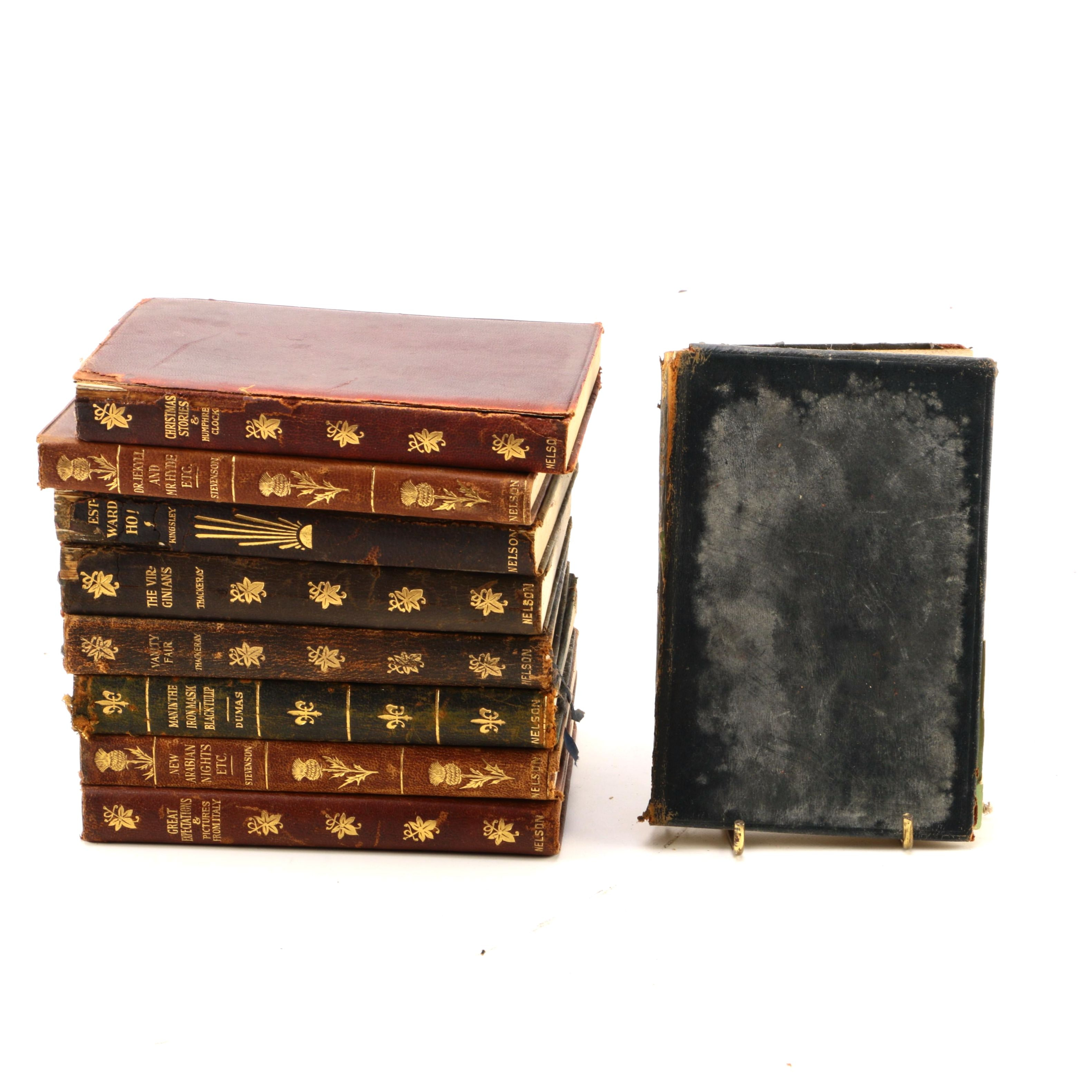 Collection of Antique Leather Bound Classics